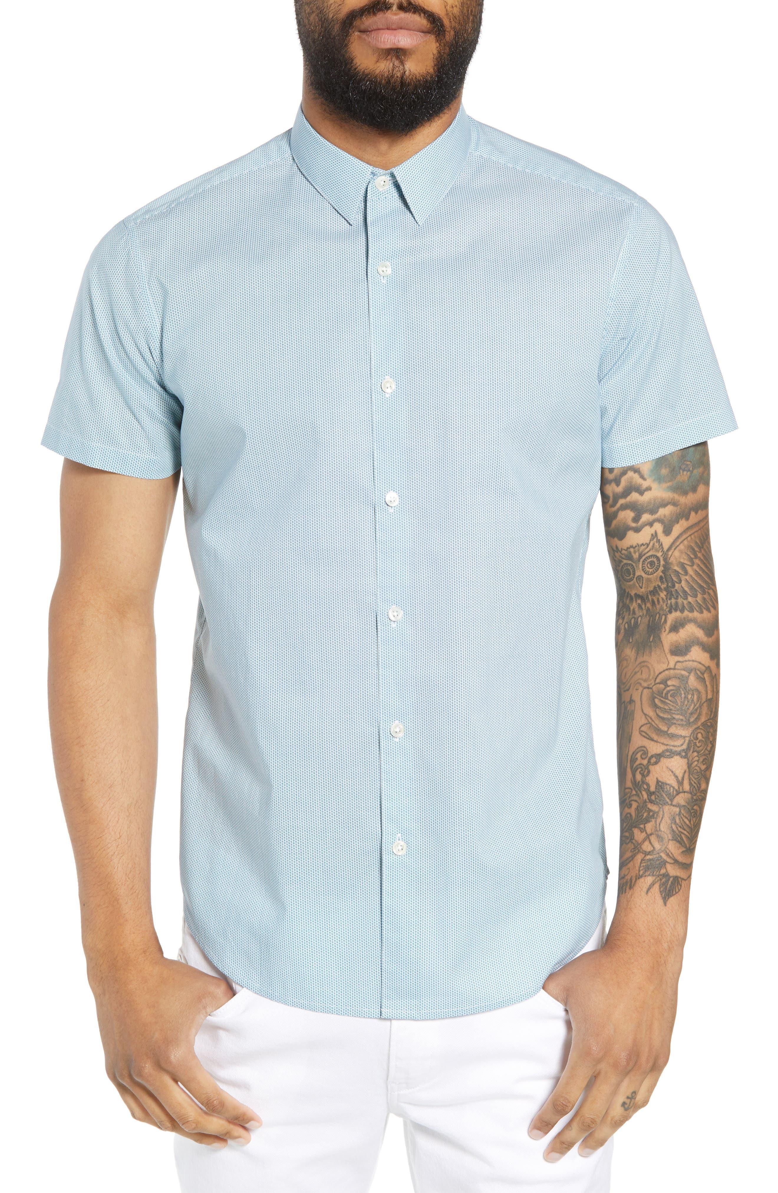 Zack Regular Fit Mini Print Sport Shirt,                         Main,                         color, White/ Splash