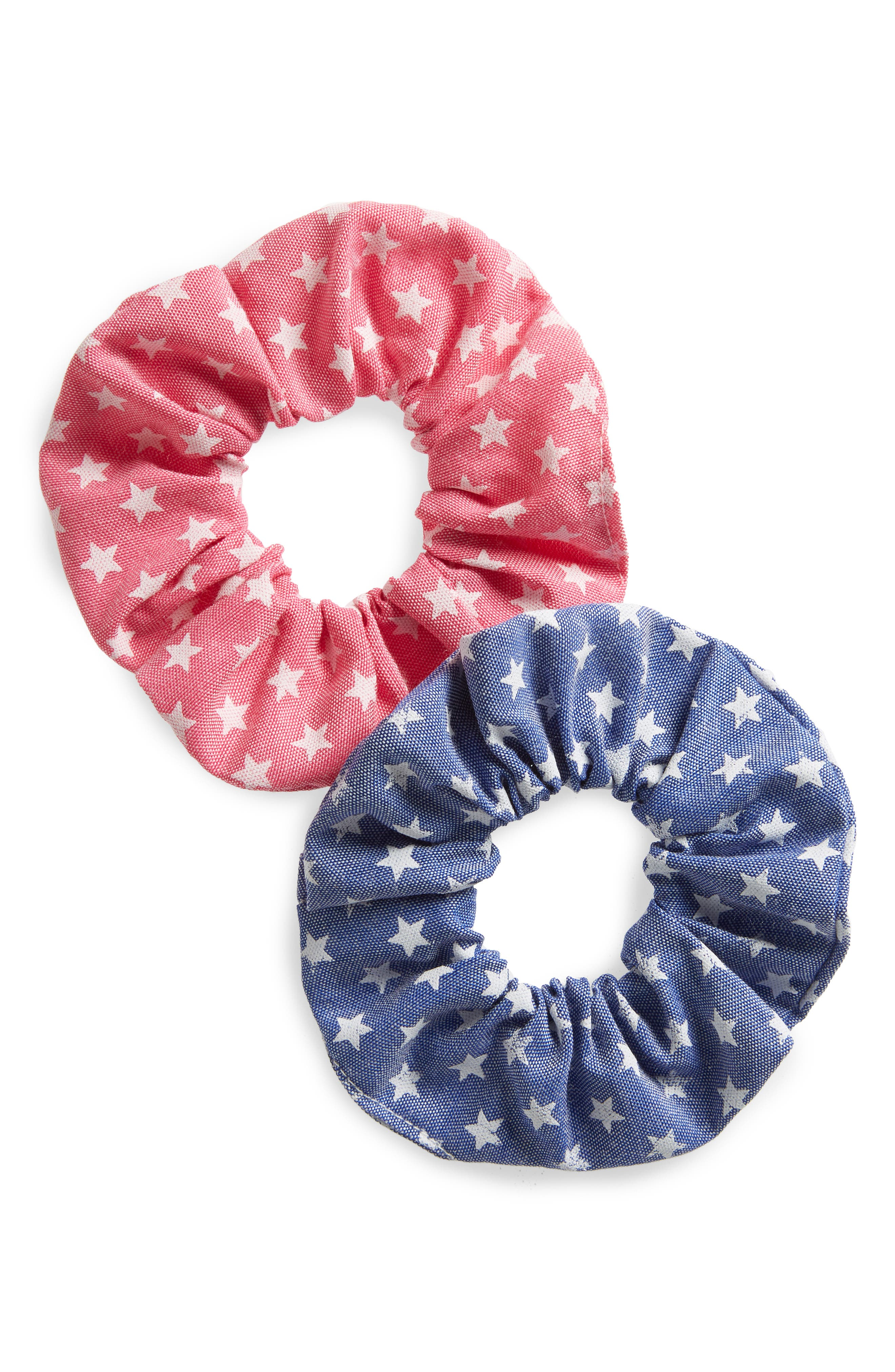 Stars Scrunchie,                         Main,                         color, Red/ Blue