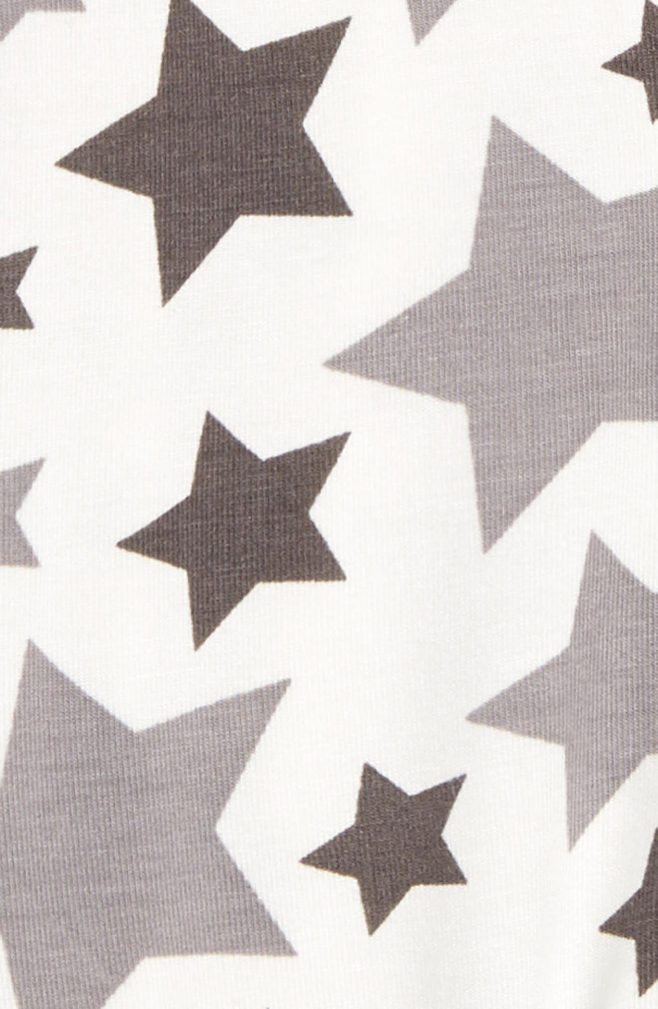 Star Print Footie,                             Alternate thumbnail 2, color,                             Feather Rain Stars
