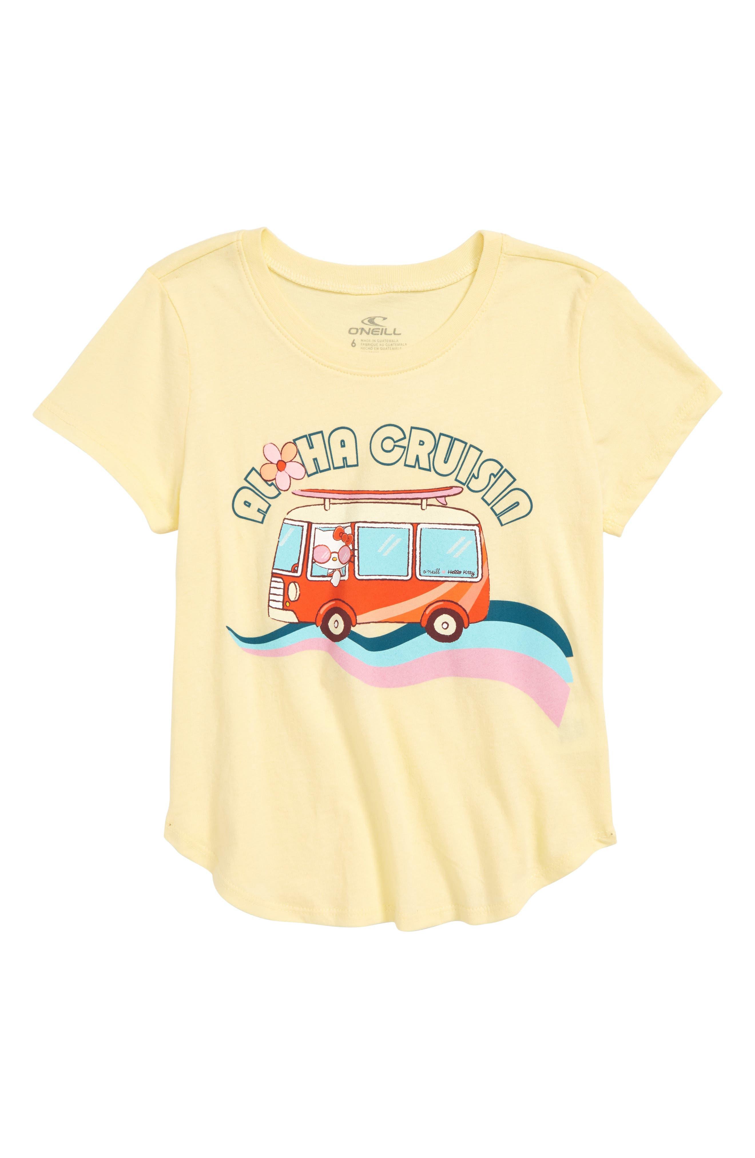 x Hello Kitty<sup>®</sup> Aloha Cruisin Graphic Tee,                             Main thumbnail 1, color,                             Mellow Yellow