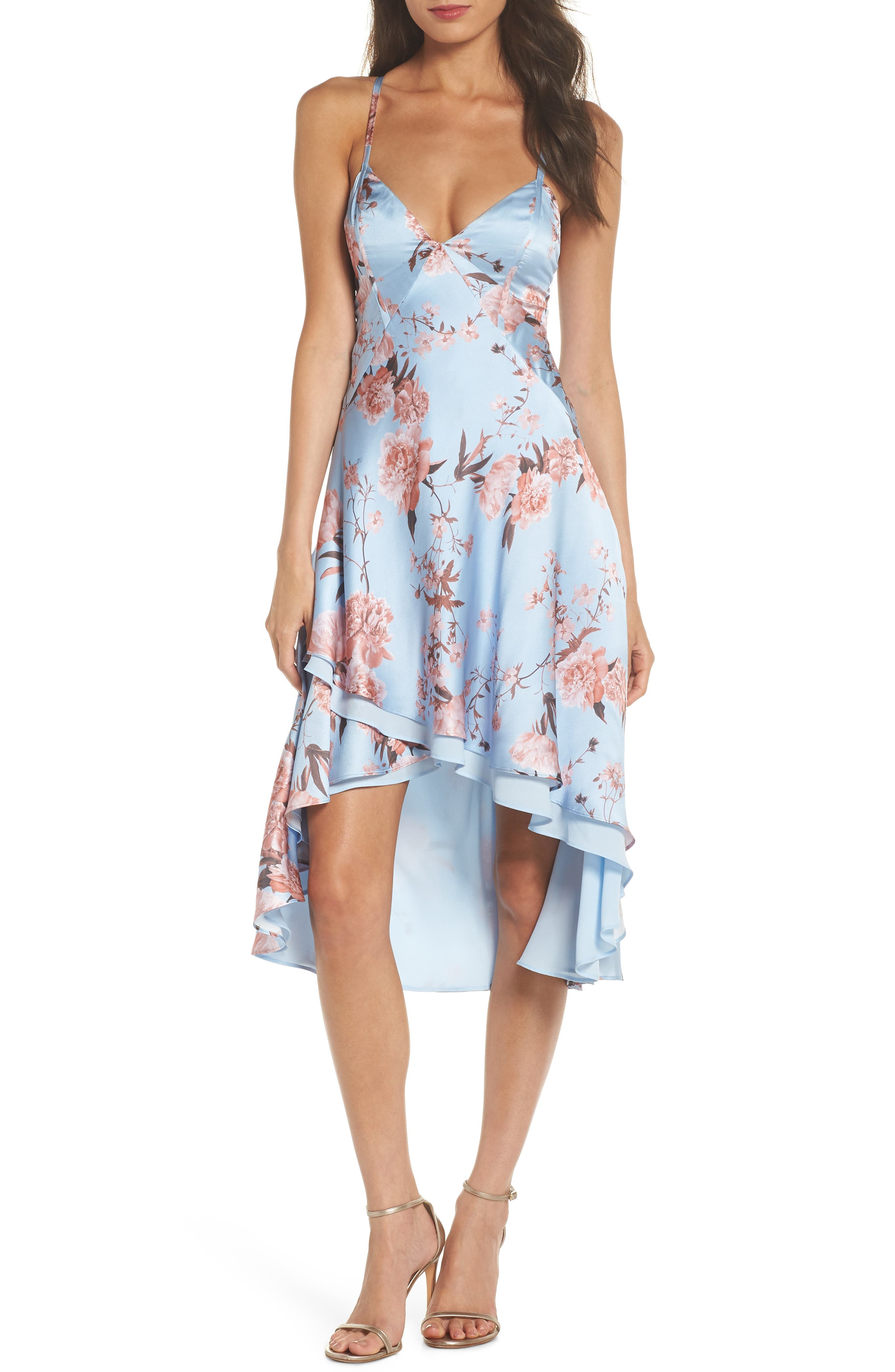 The Farren Floral Silk Dress,                             Main thumbnail 1, color,                             Sky Blossom Floral