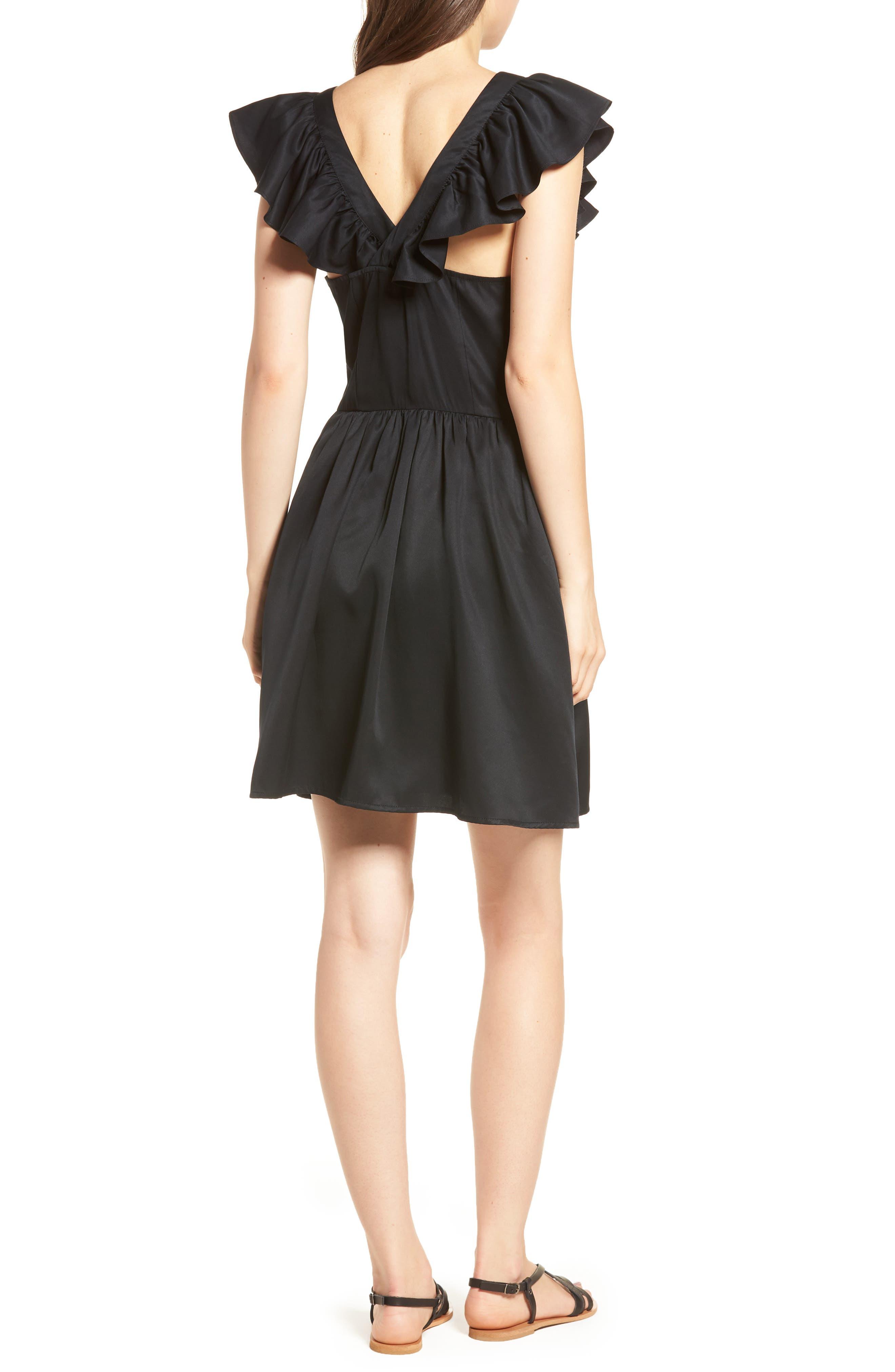 Ruffle Satin Dress,                             Alternate thumbnail 2, color,                             Black