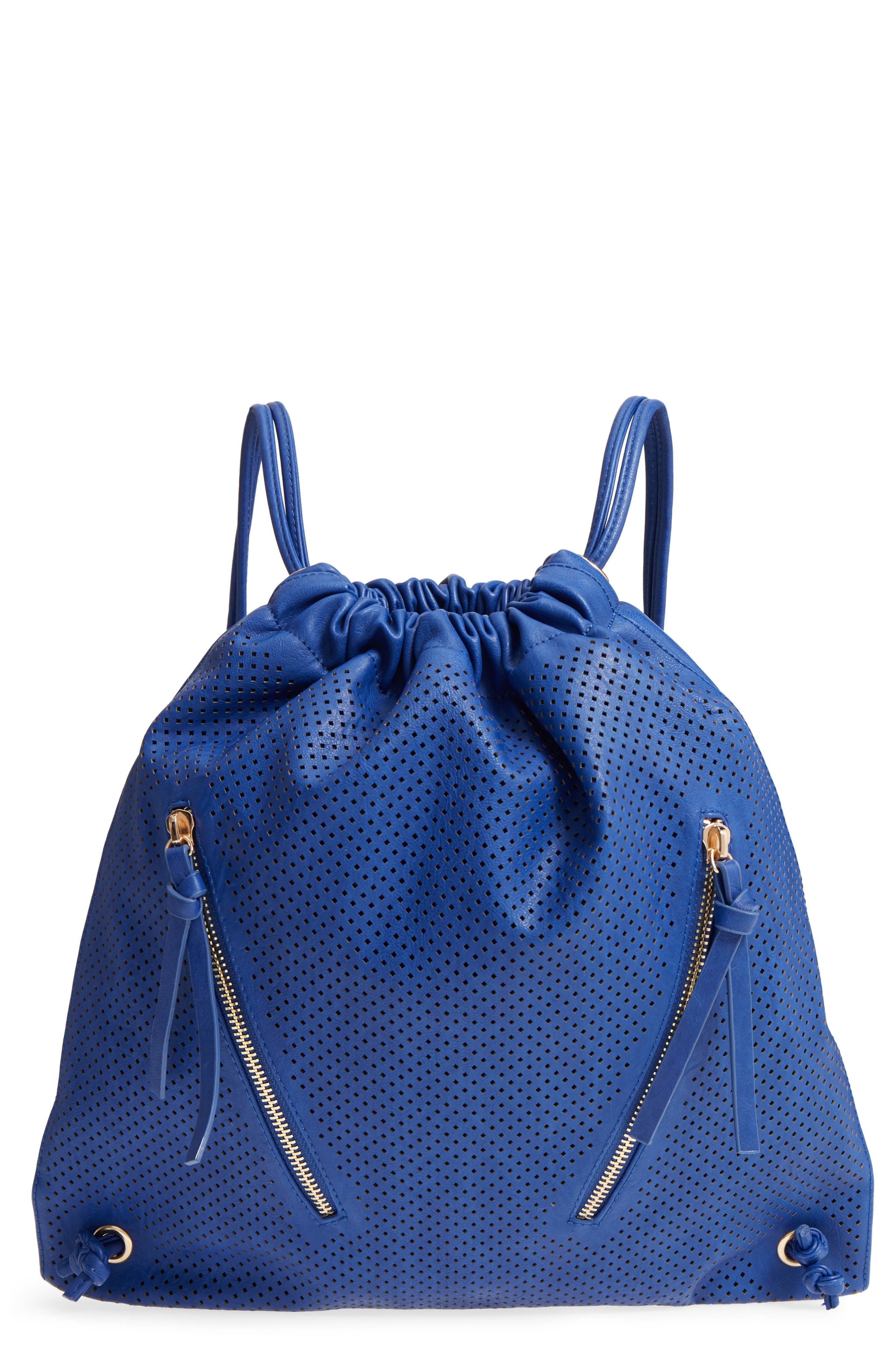 Perforated Double Zip Backpack,                         Main,                         color, Cobalt