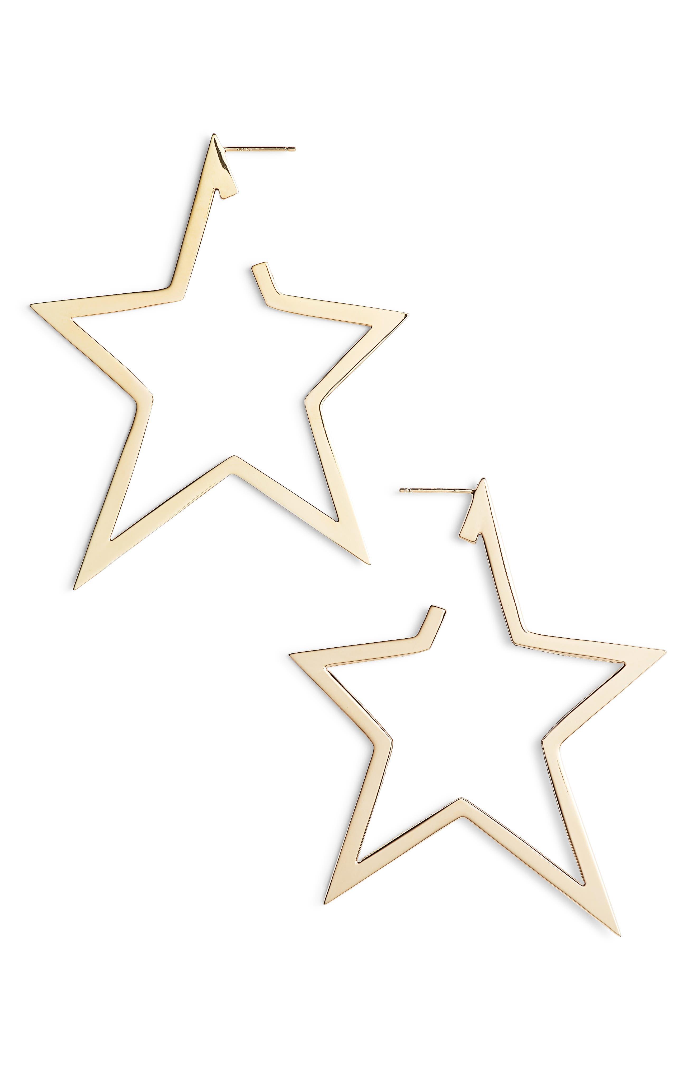 Sade X-Large Star Hoop Earrings,                         Main,                         color, Yellow Vermeil