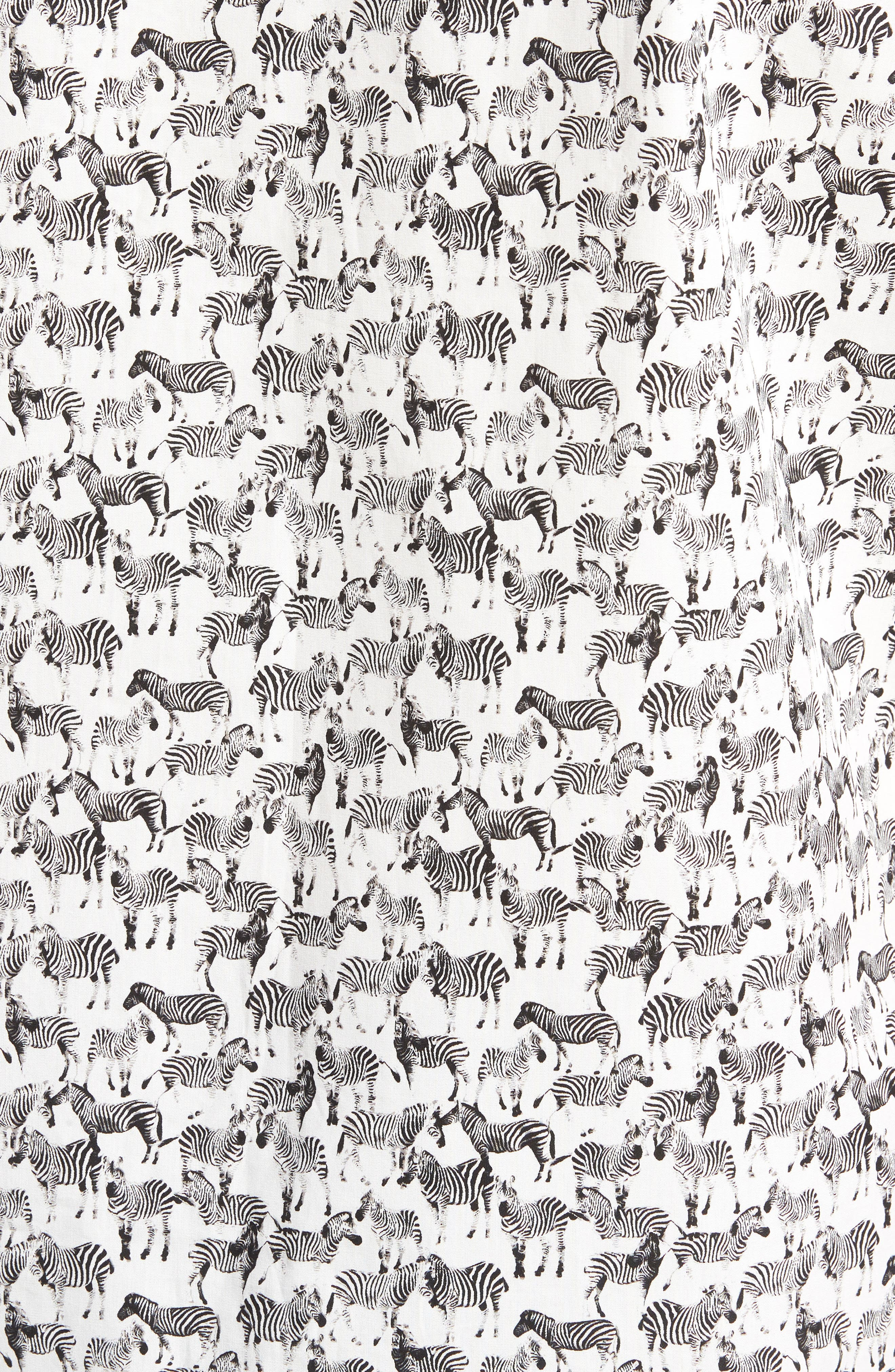 Trim Fit Print Short Sleeve Sport Shirt,                             Alternate thumbnail 5, color,                             Black White Zebras