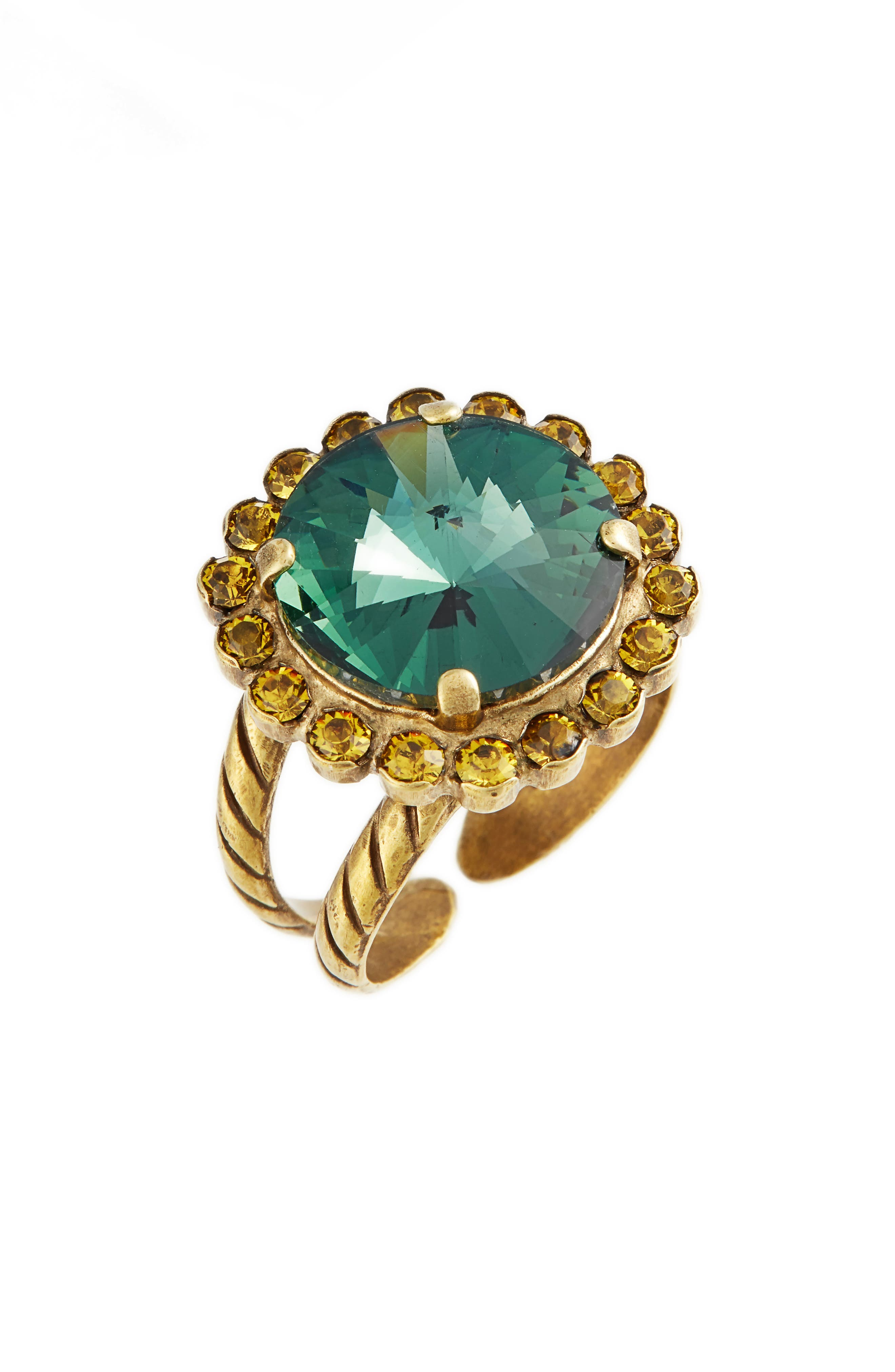 Haute Halo Crystal Cocktail Ring,                             Main thumbnail 1, color,                             Blue-Green