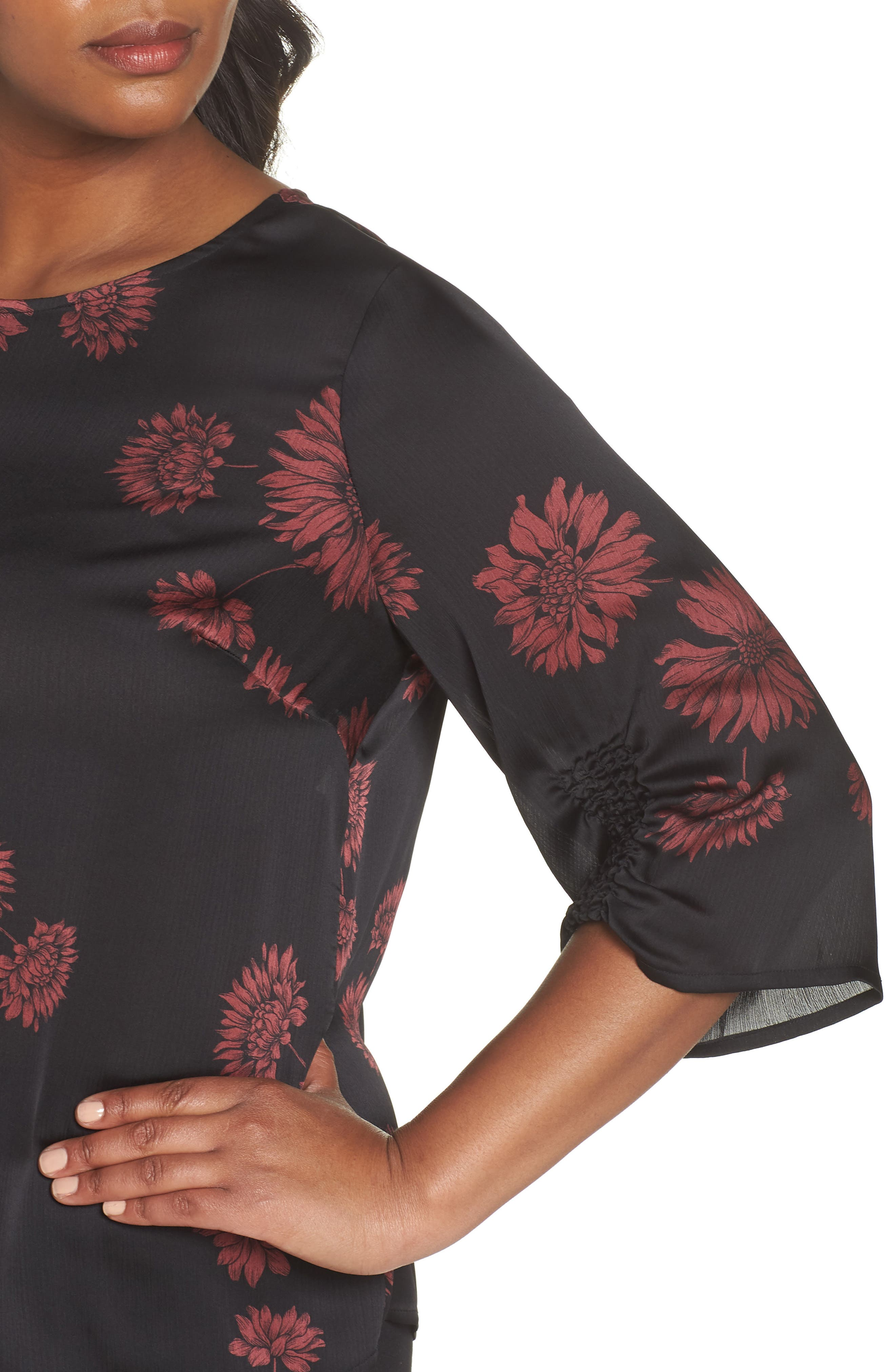 Chateau Floral Print Top,                             Alternate thumbnail 4, color,                             Rich Black