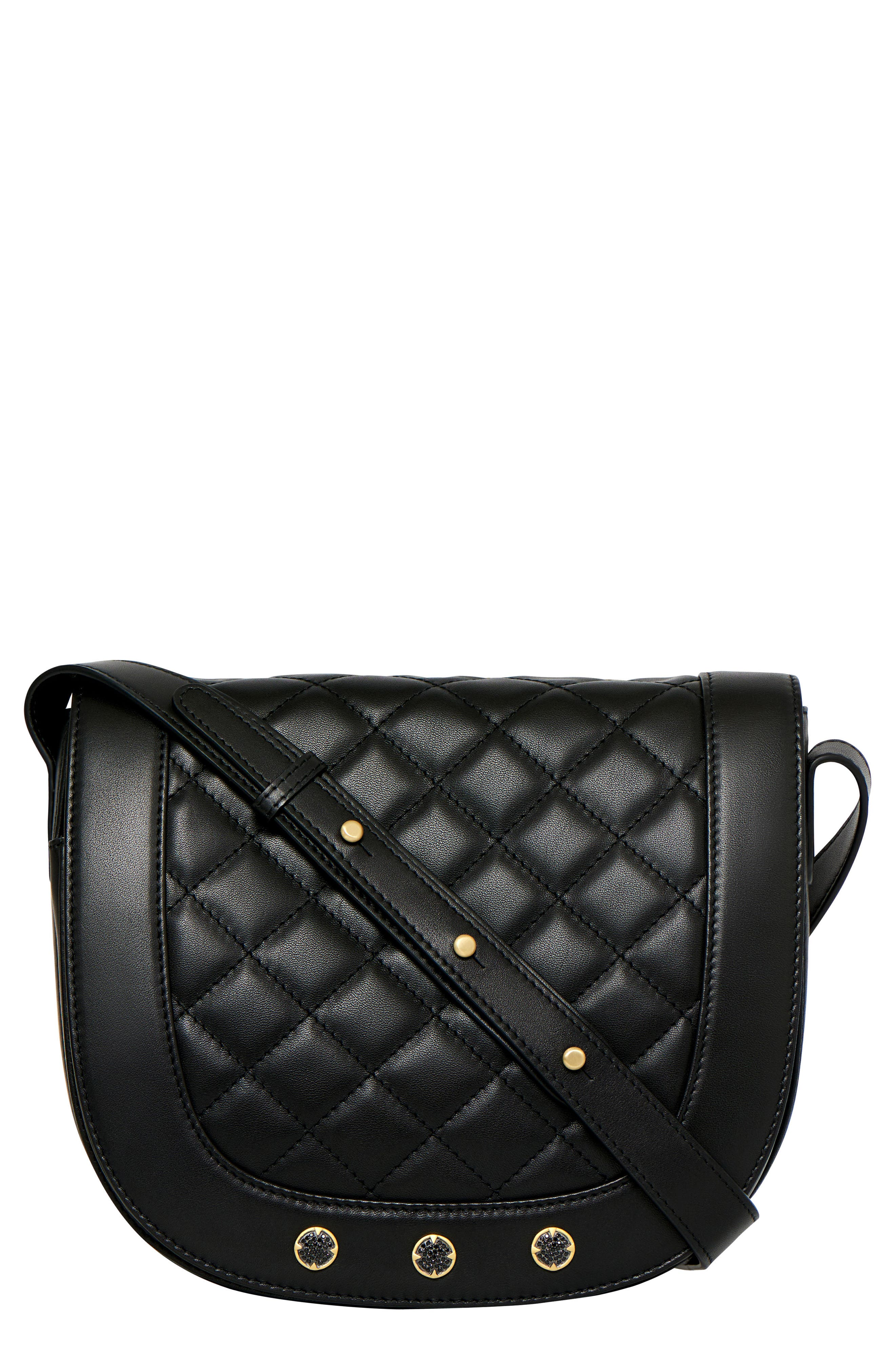 Bleeker Quilted Leather Messenger Bag,                             Main thumbnail 1, color,                             Black