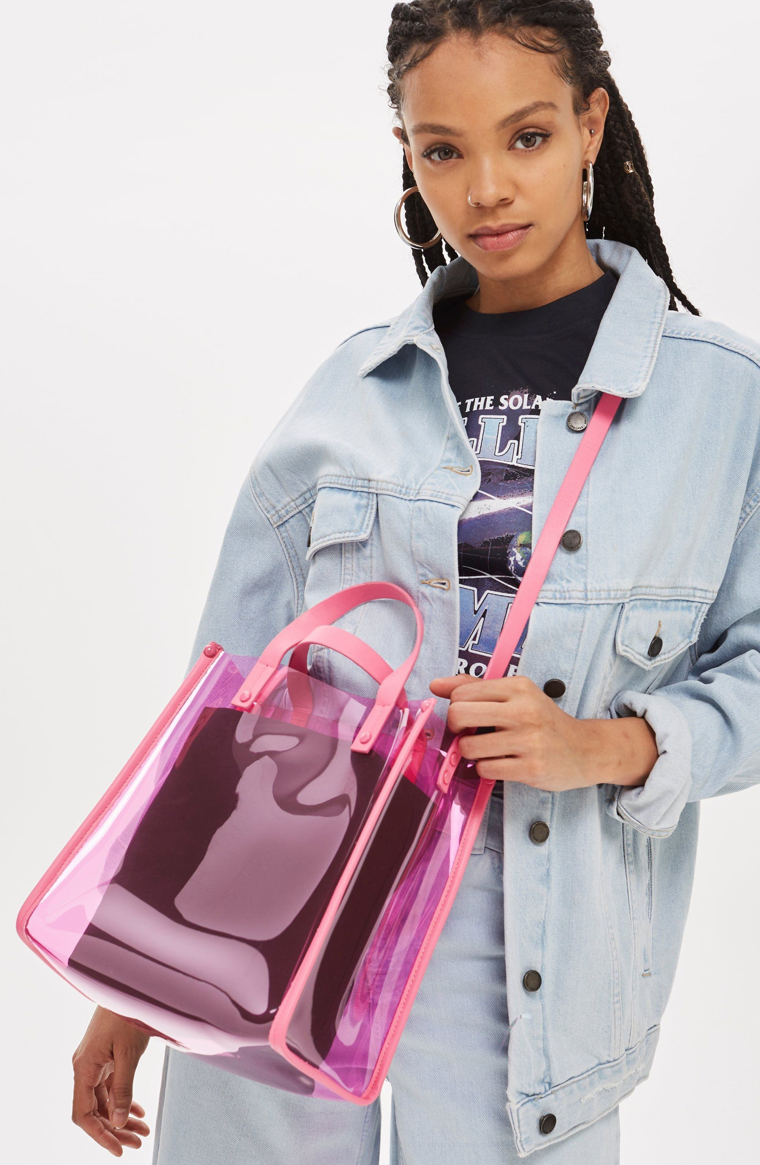 Penny Perspex Shopper Tote,                             Alternate thumbnail 2, color,                             Pink