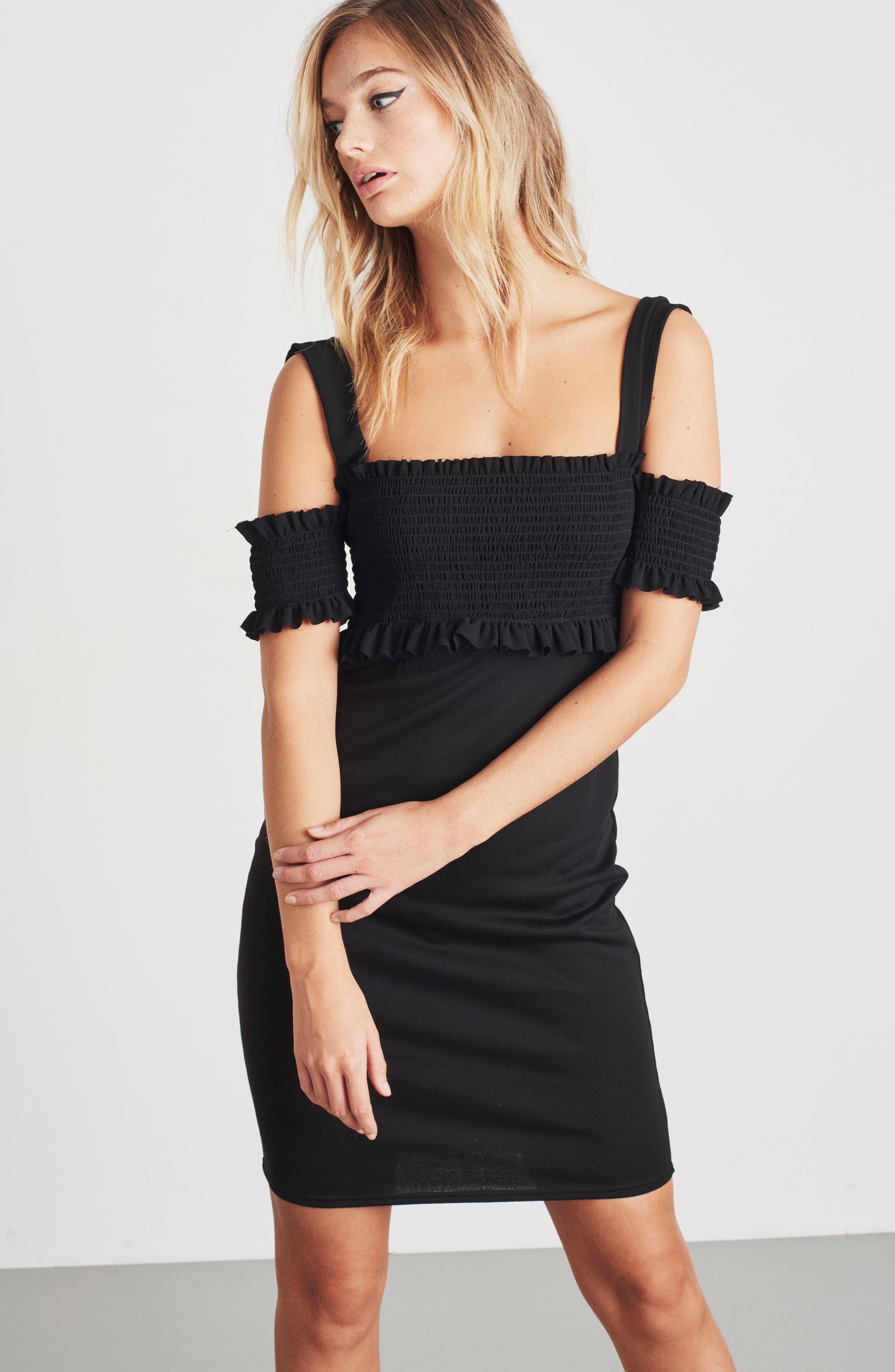 Smocked Body-Con Dress,                             Alternate thumbnail 2, color,                             Black