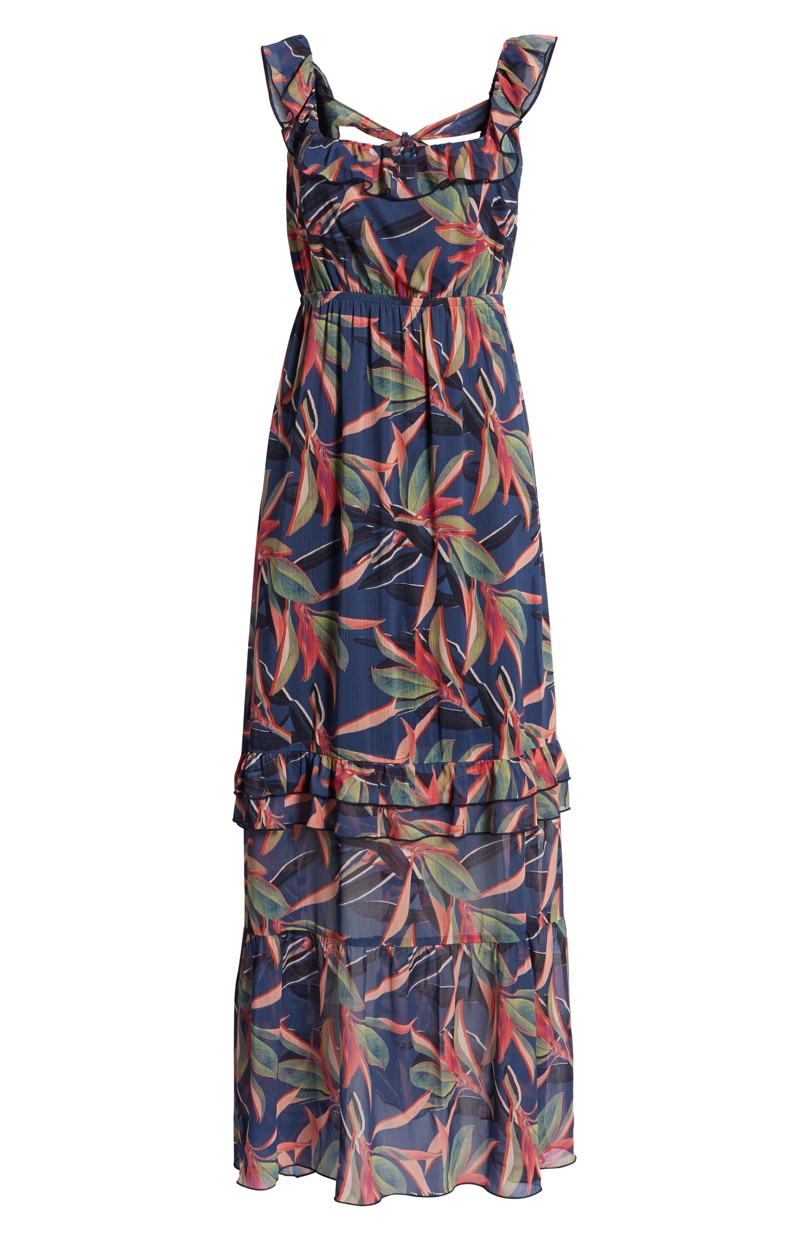 Ruffle Maxi Dress,                             Alternate thumbnail 8, color,                             Multi