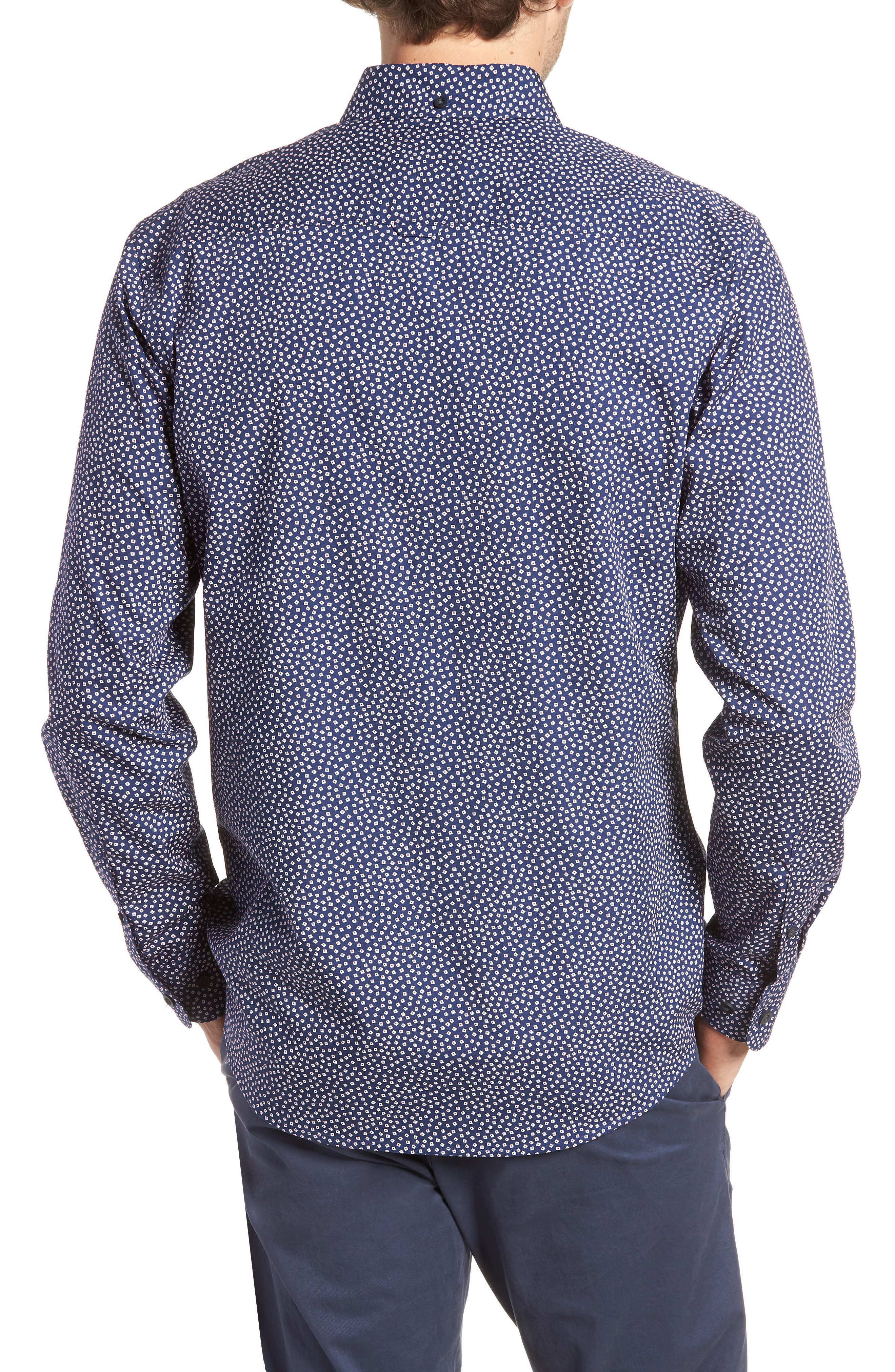 Ivy Trim Fit Print Sport Shirt,                             Alternate thumbnail 3, color,                             Navy Iris Tossed Squares