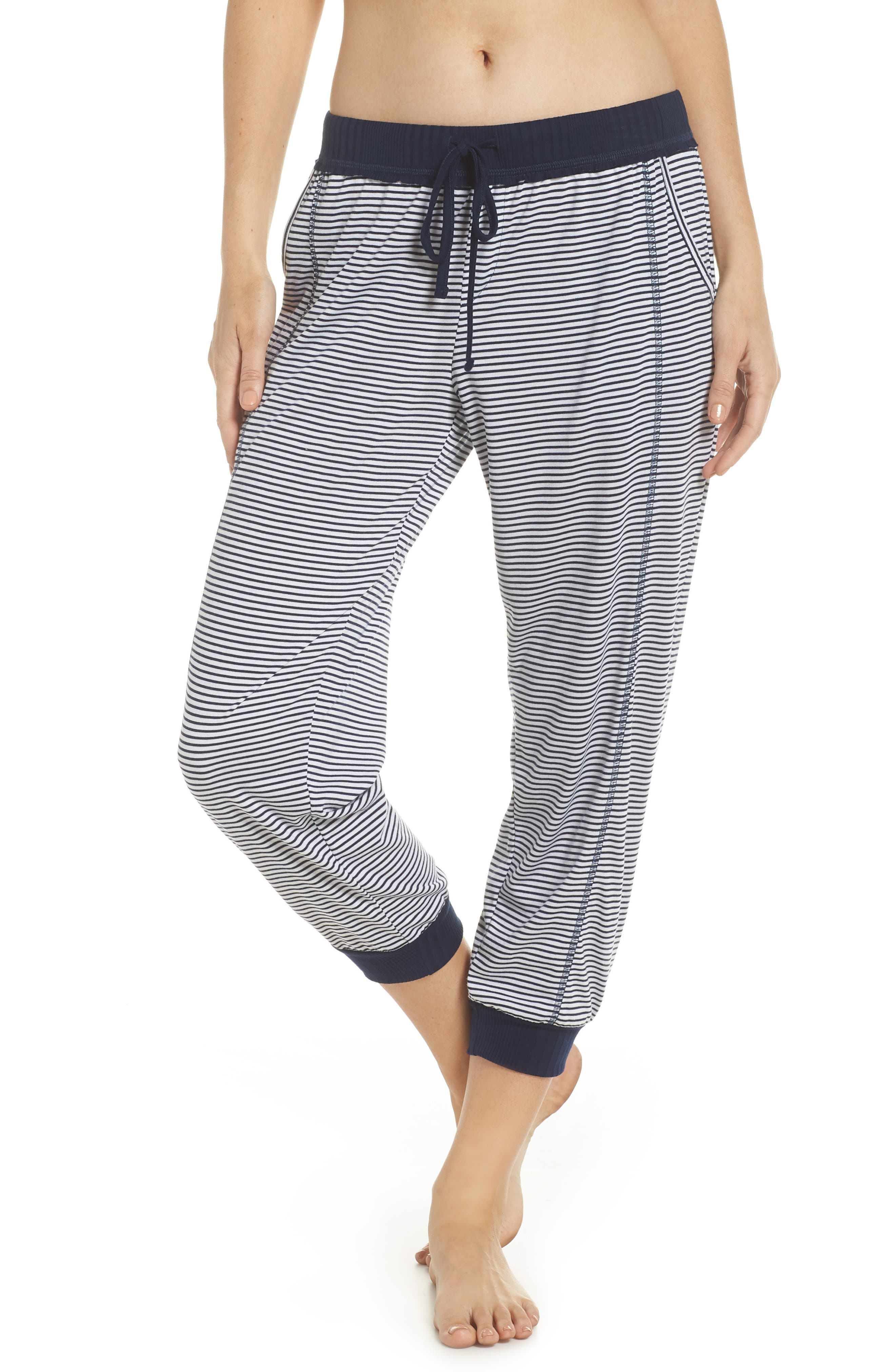 Crop Pajama Pants,                             Main thumbnail 1, color,                             Lakeside Stripe