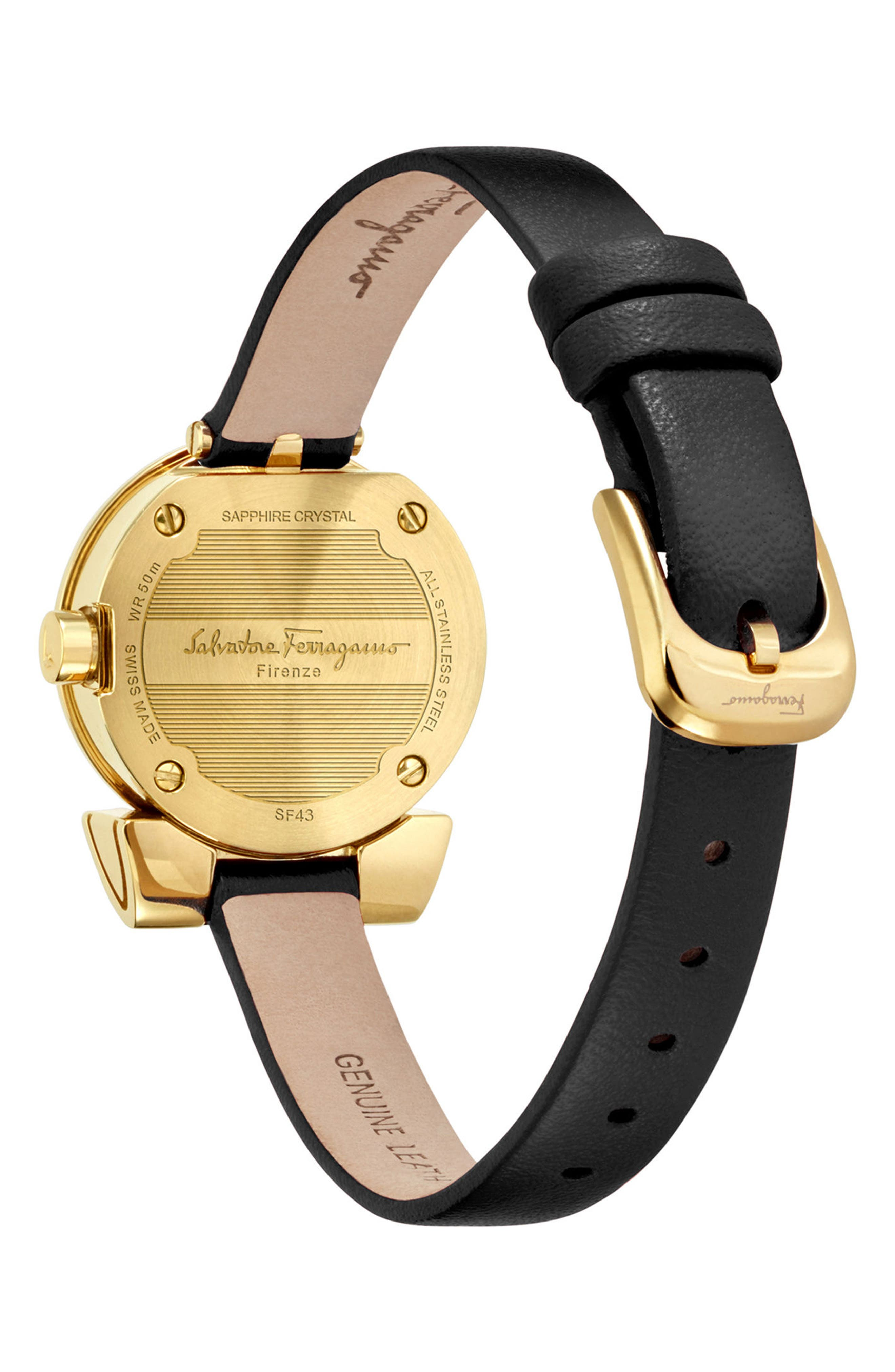 Gancino Leather Strap Watch, 22mm,                             Alternate thumbnail 2, color,                             Black/ Gold