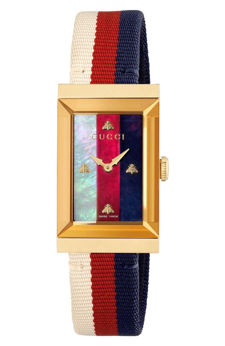Gucci G-frame Nylon Strap Watch, 21mm X 34mm In Blue