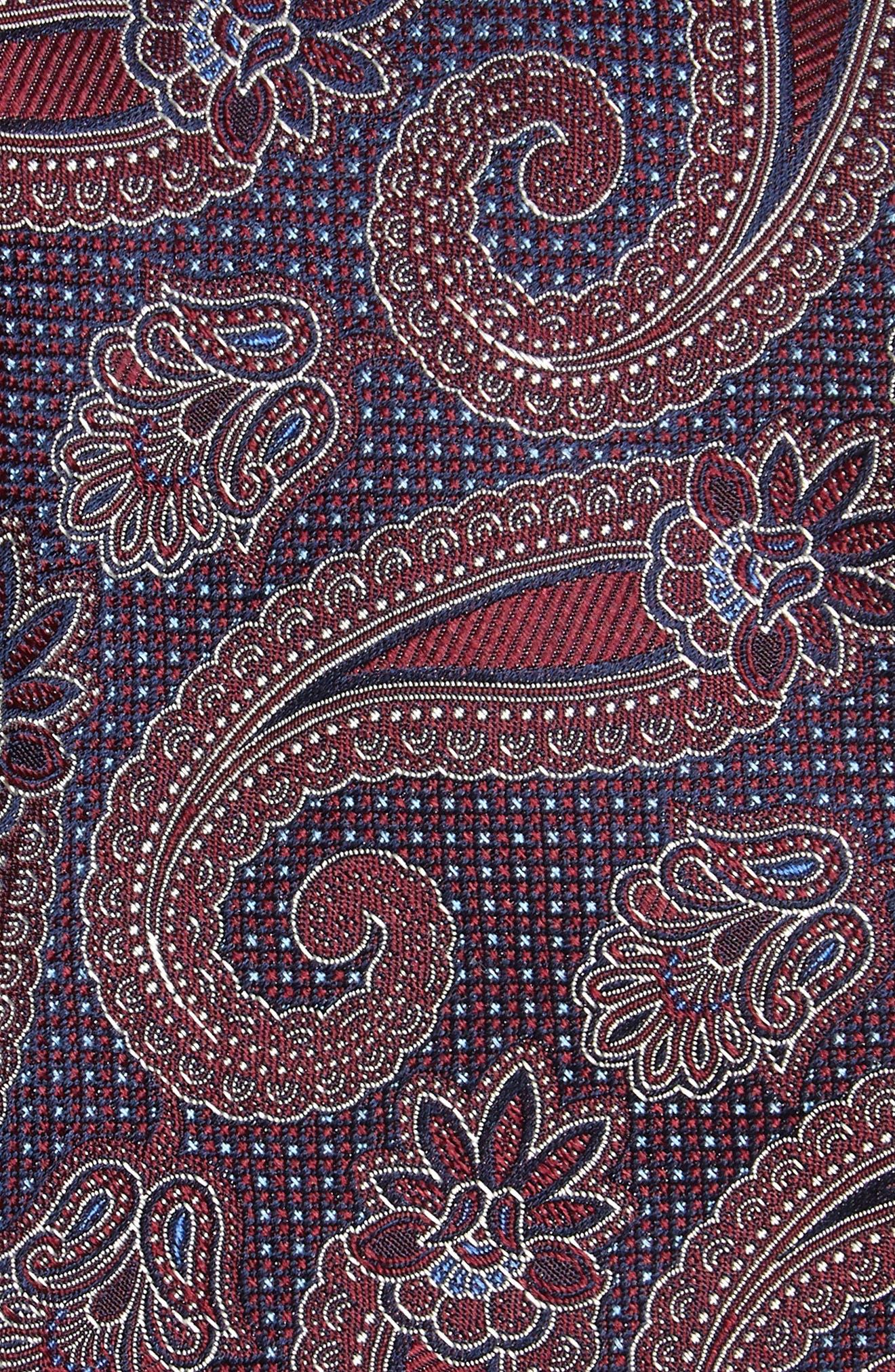 Emery Paisley Silk Tie,                             Alternate thumbnail 2, color,                             Burgundy