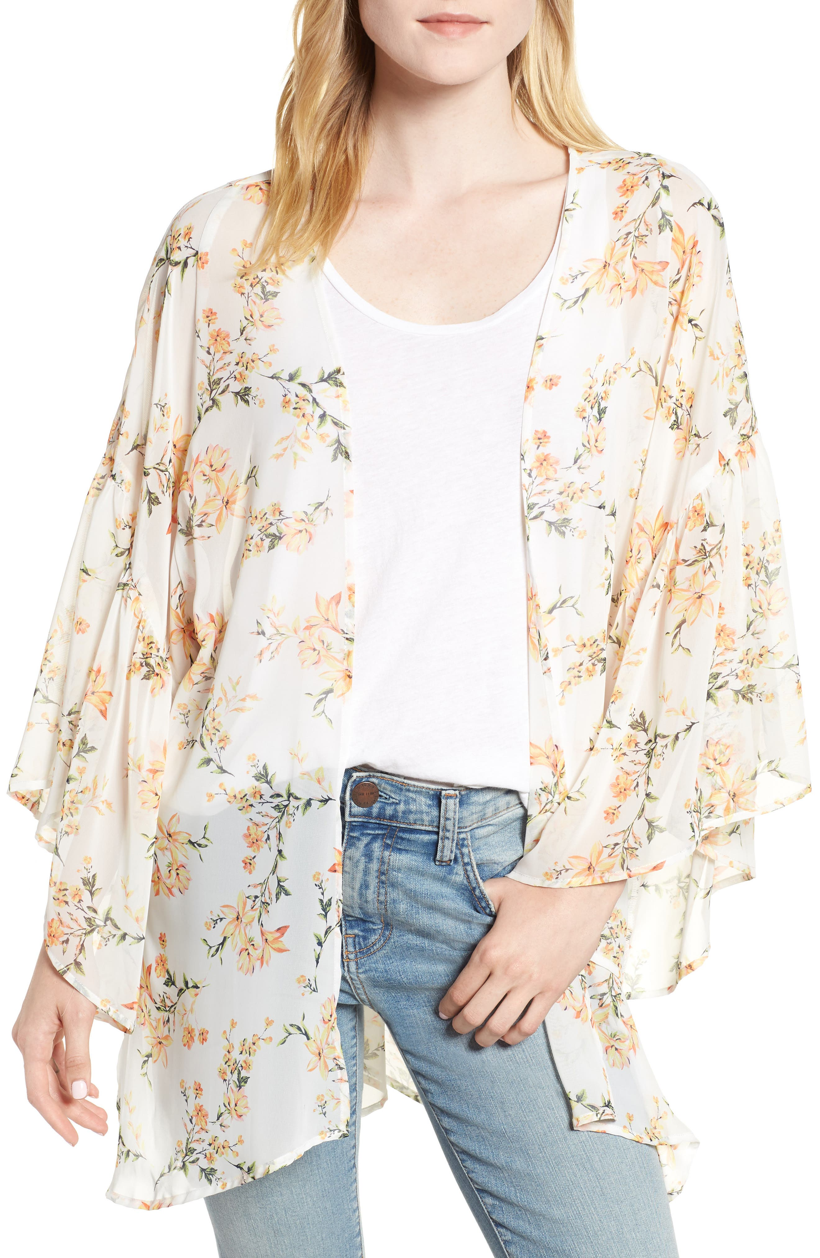 Floral Print Ruffle Sleeve Kimono,                             Main thumbnail 1, color,                             Yellow Combo