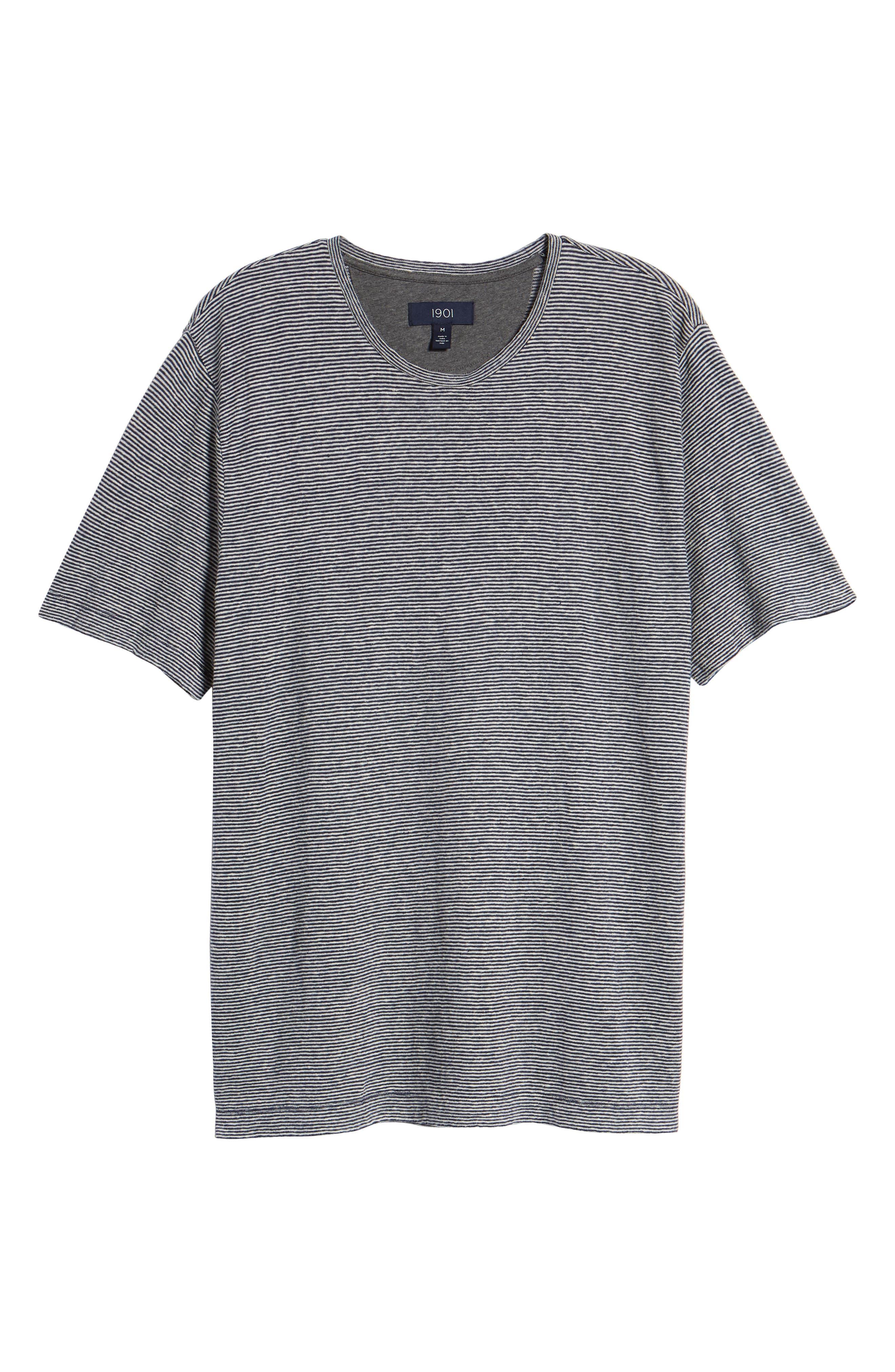 Feeder Stripe Linen Blend Jersey T-Shirt,                             Alternate thumbnail 6, color,                             Navy Iris White Stripe