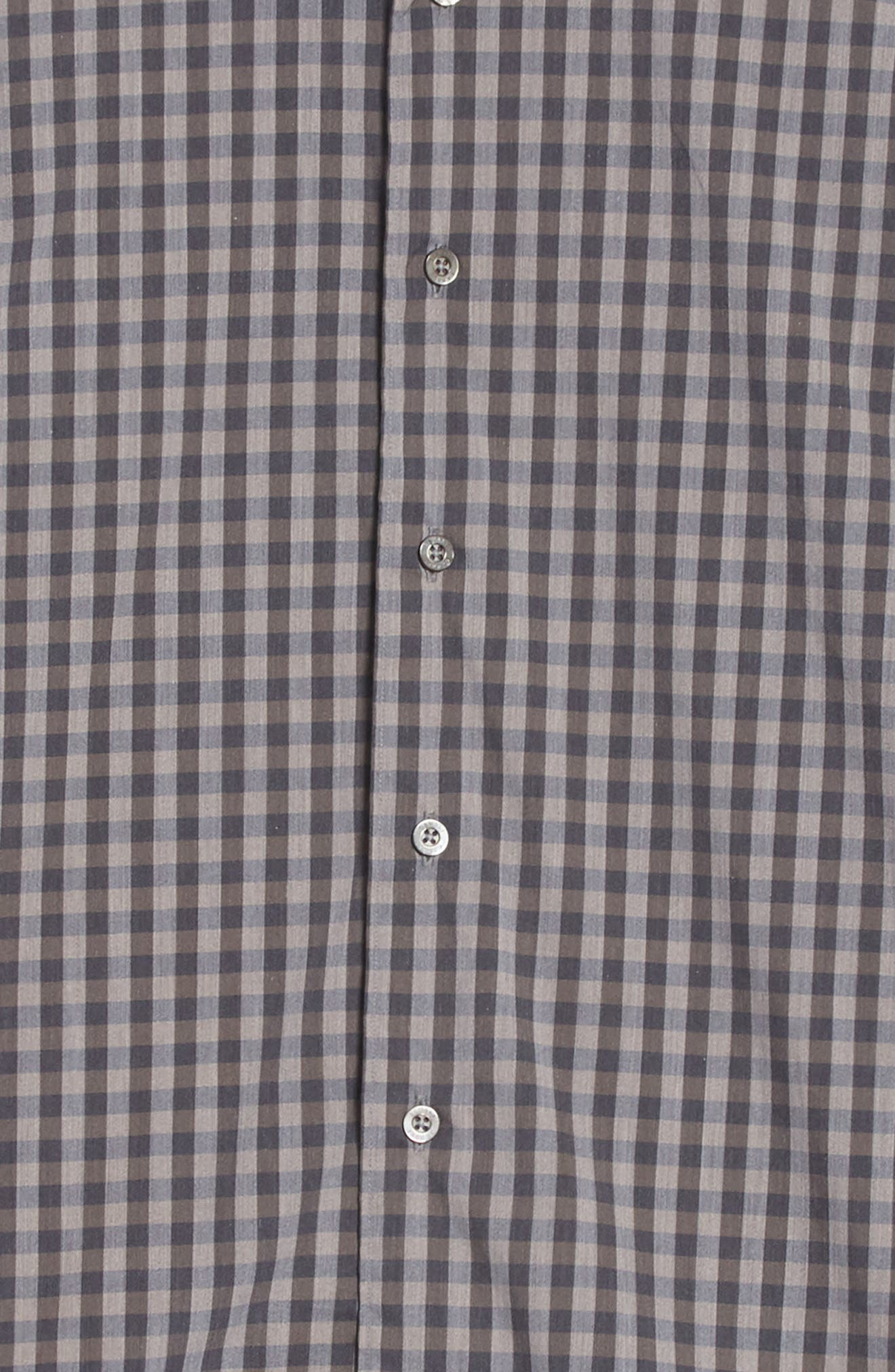 Regular Fit Stretch Check Sport Shirt,                             Alternate thumbnail 5, color,                             Brown