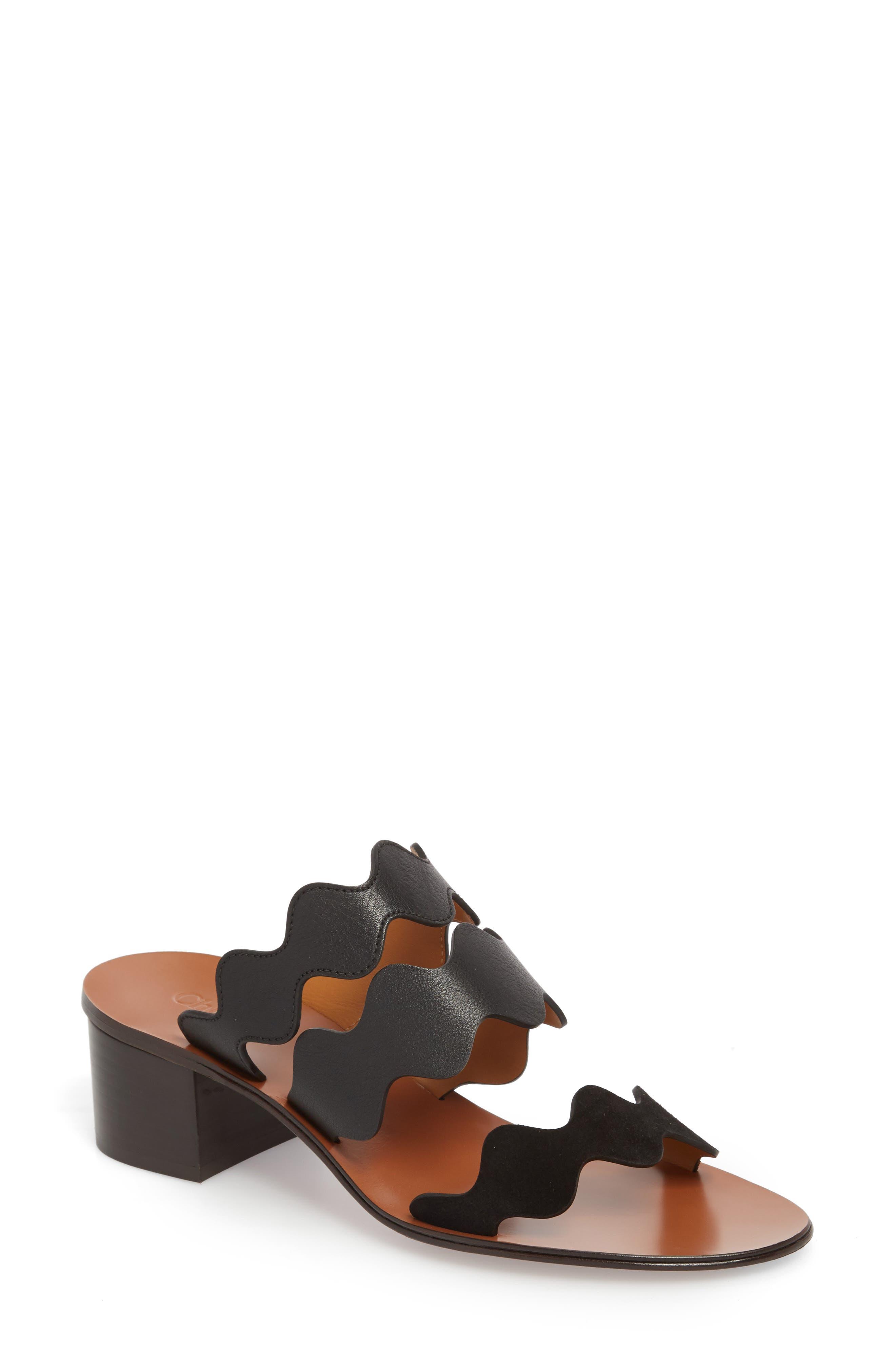 Lauren Slide Sandal,                             Main thumbnail 1, color,                             Black
