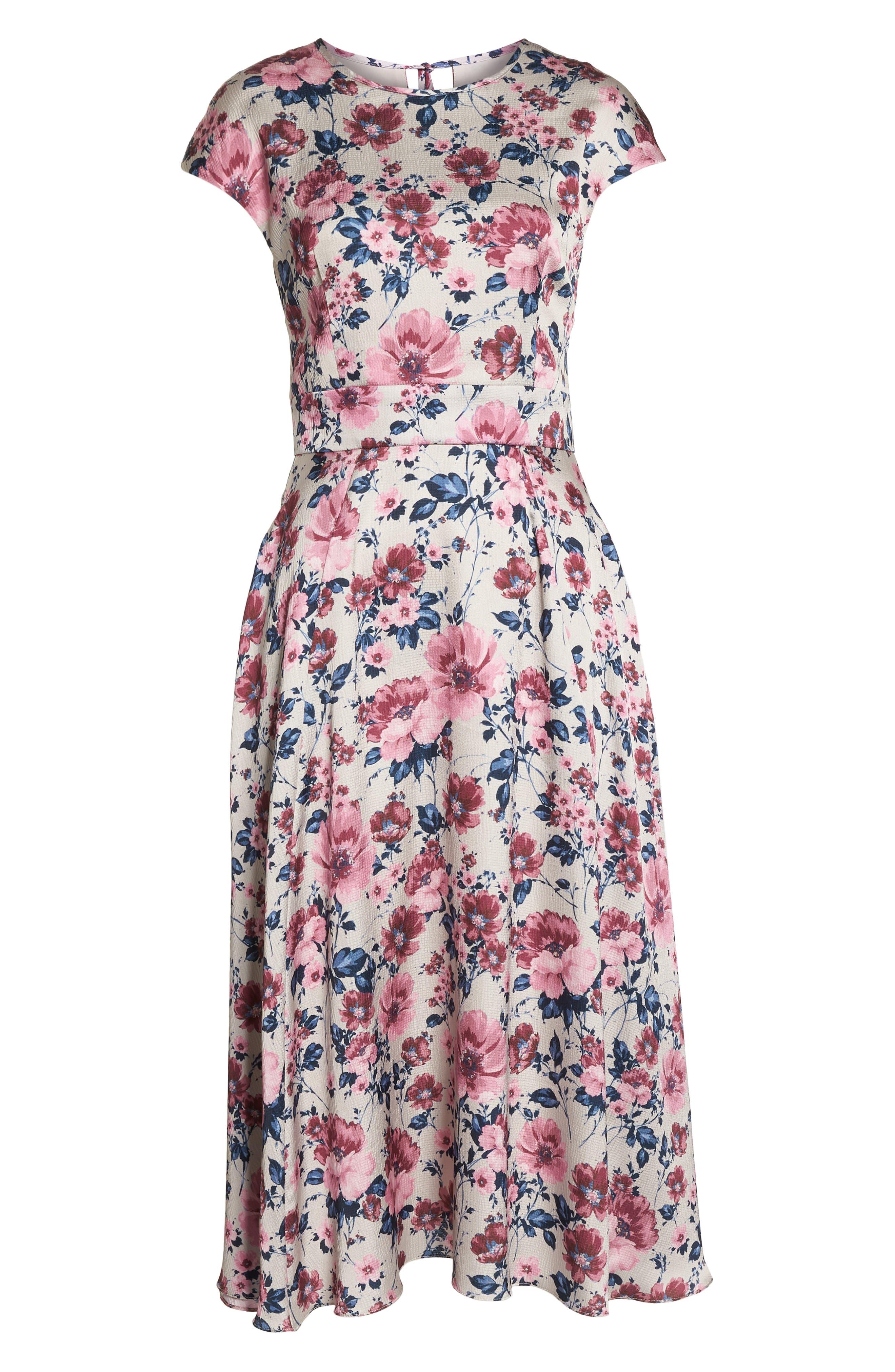 Julia Seersucker Midi Dress,                             Alternate thumbnail 8, color,                             Beige/ Pink