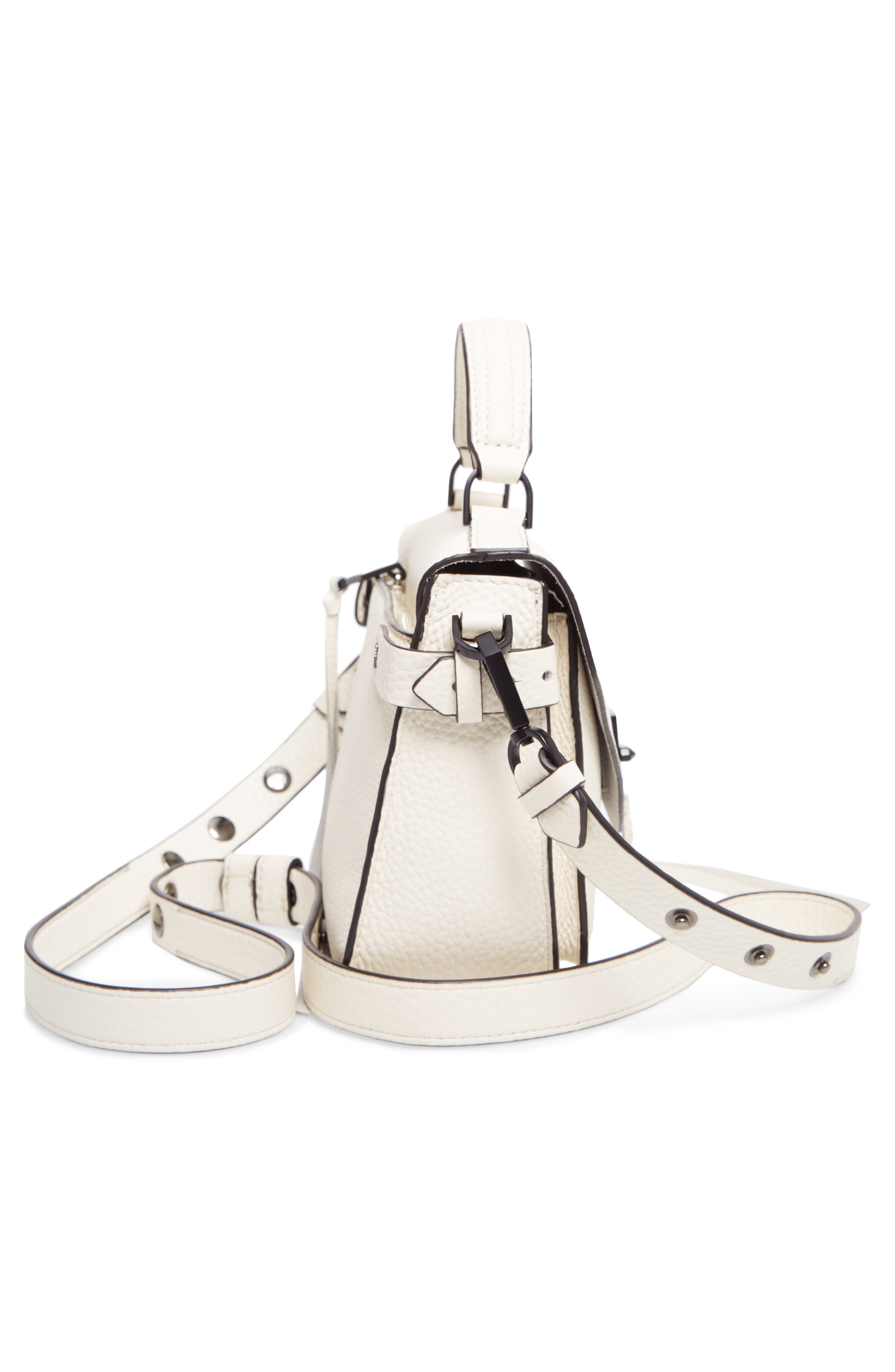 'Small Darren' Leather Messenger Bag,                             Alternate thumbnail 6, color,                             Antique White
