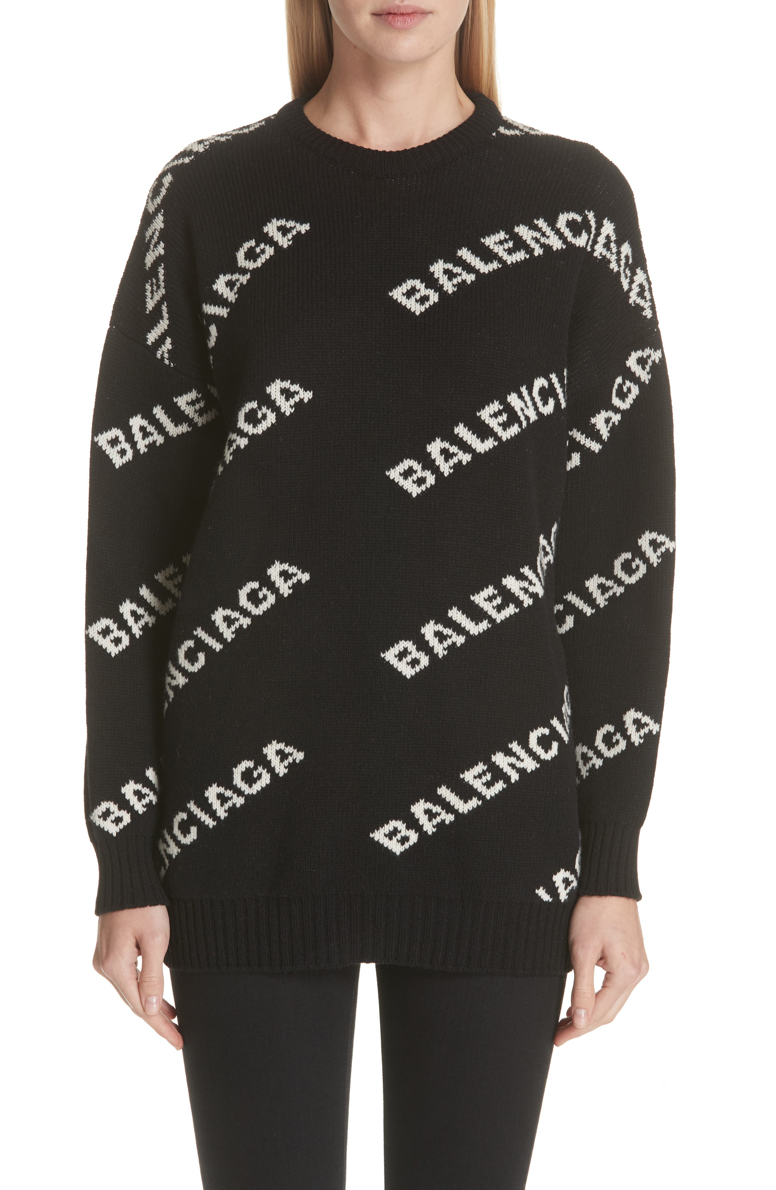 Balenciaga Logo Knit Wool Blend Sweater
