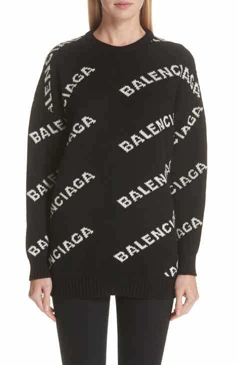 Balenciaga Logo Knit Wool Blend Sweater.  1 55d57a1924