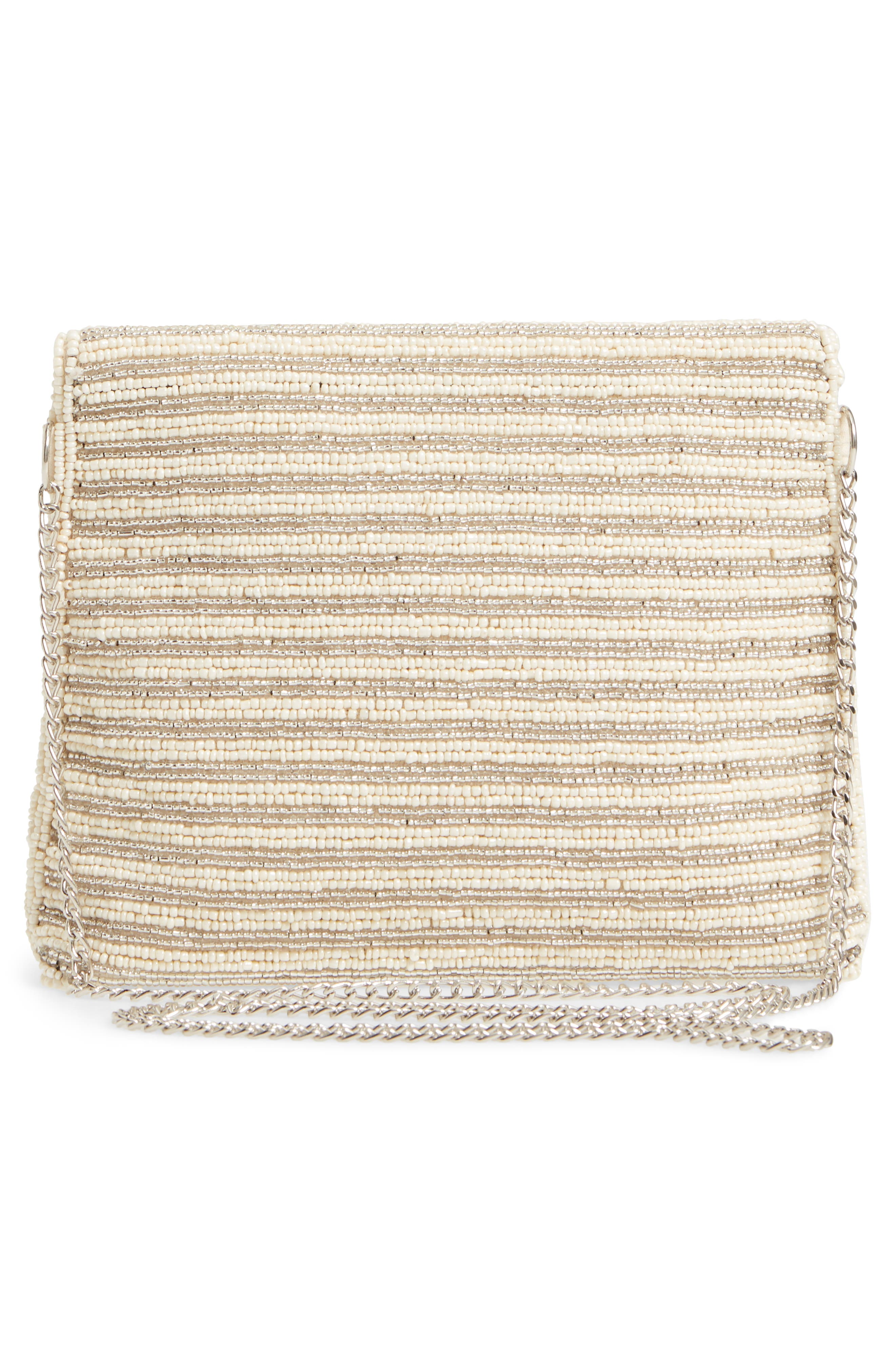 Beaded Clutch,                             Alternate thumbnail 3, color,                             Ivory Combo