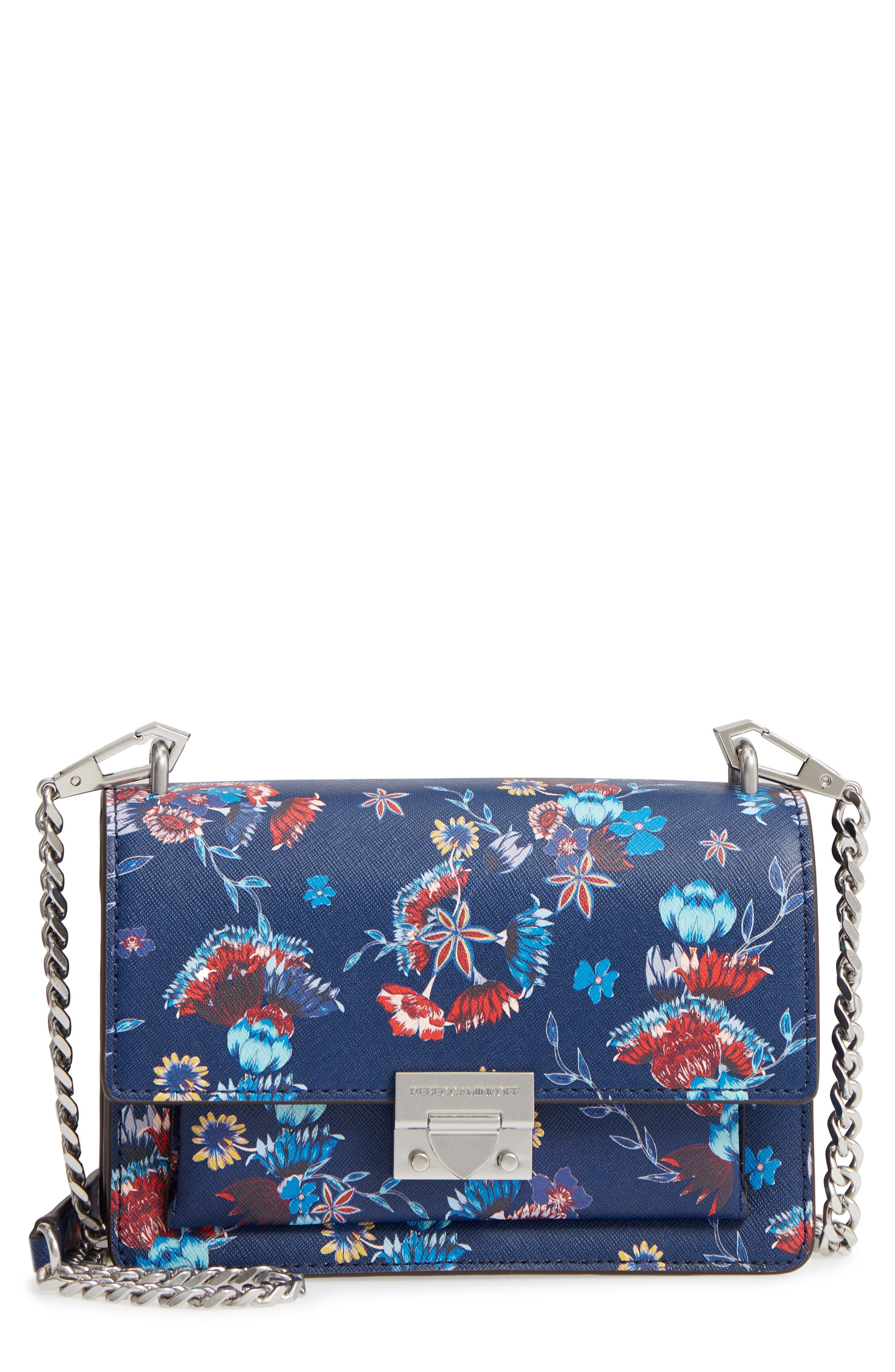Small Christy Print Leather Shoulder Bag,                             Main thumbnail 1, color,                             Floral Blue