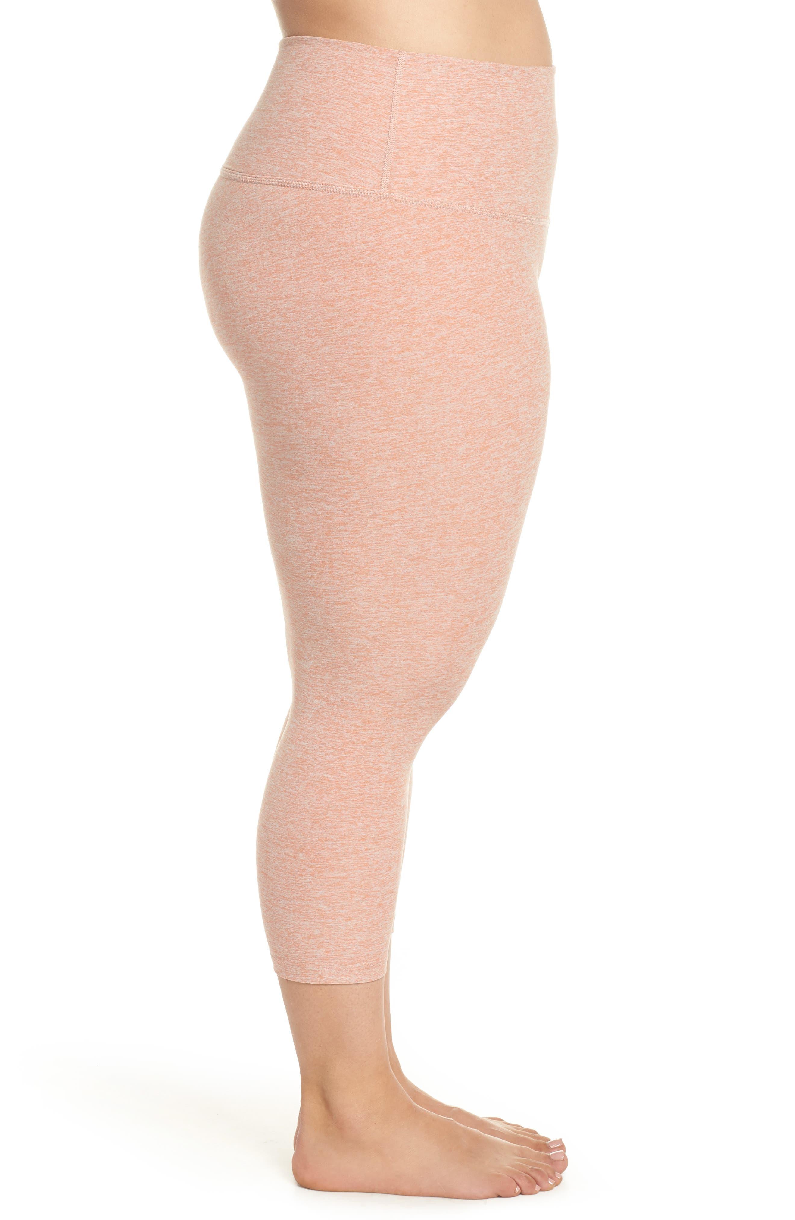 Walk & Talk Space Dye High Waist Leggings,                             Alternate thumbnail 3, color,                             Rain Wash-Pink Shell