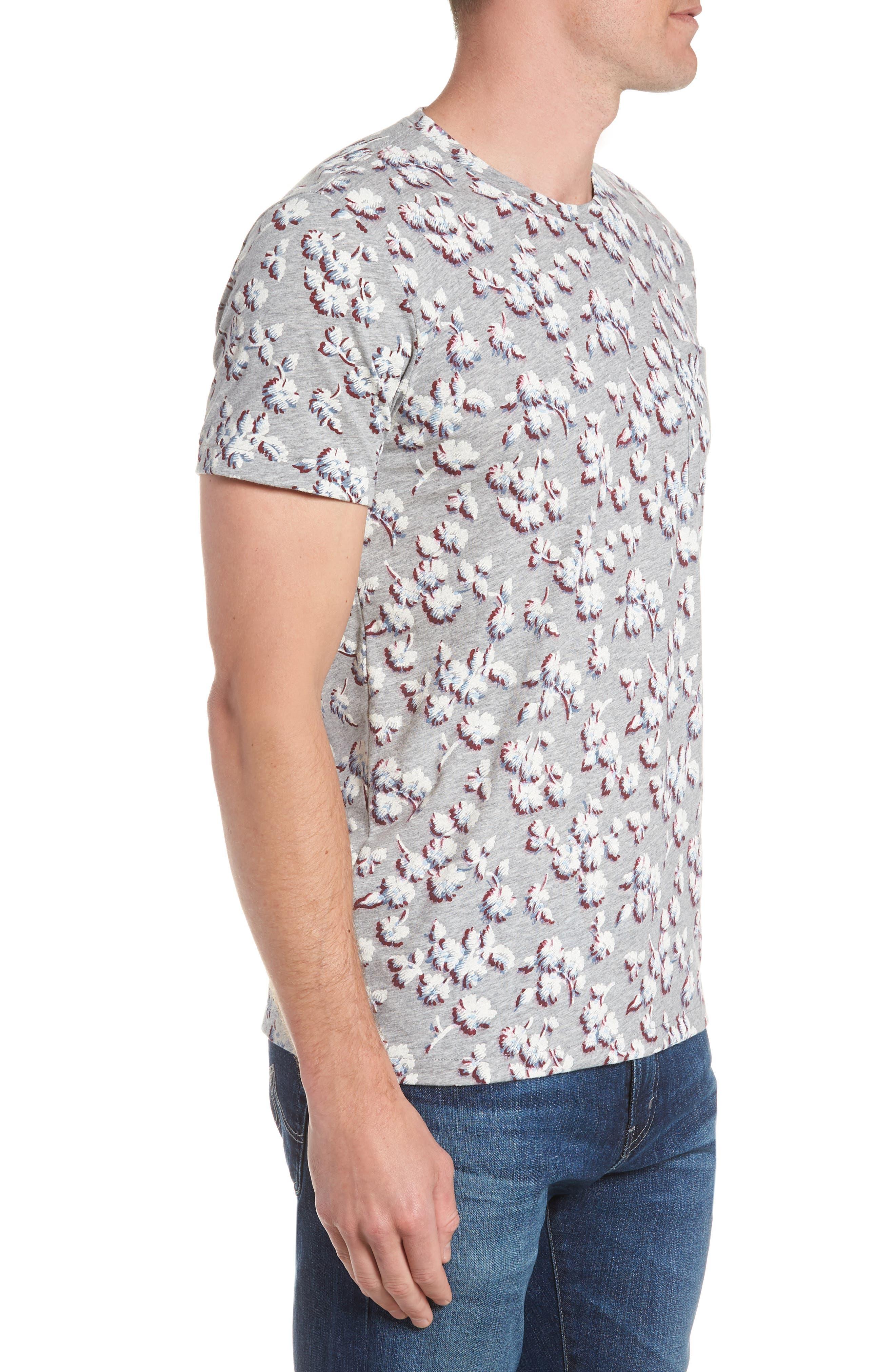 Slim Fit Floral Pocket T-Shirt,                             Alternate thumbnail 3, color,                             Grey/ La Rioja/ Blue