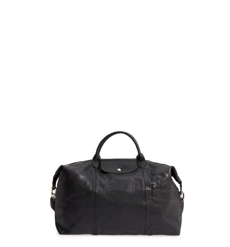 8395dd526726 LONGCHAMP LE PLIAGE LEATHER DUFFEL BAG - BLACK