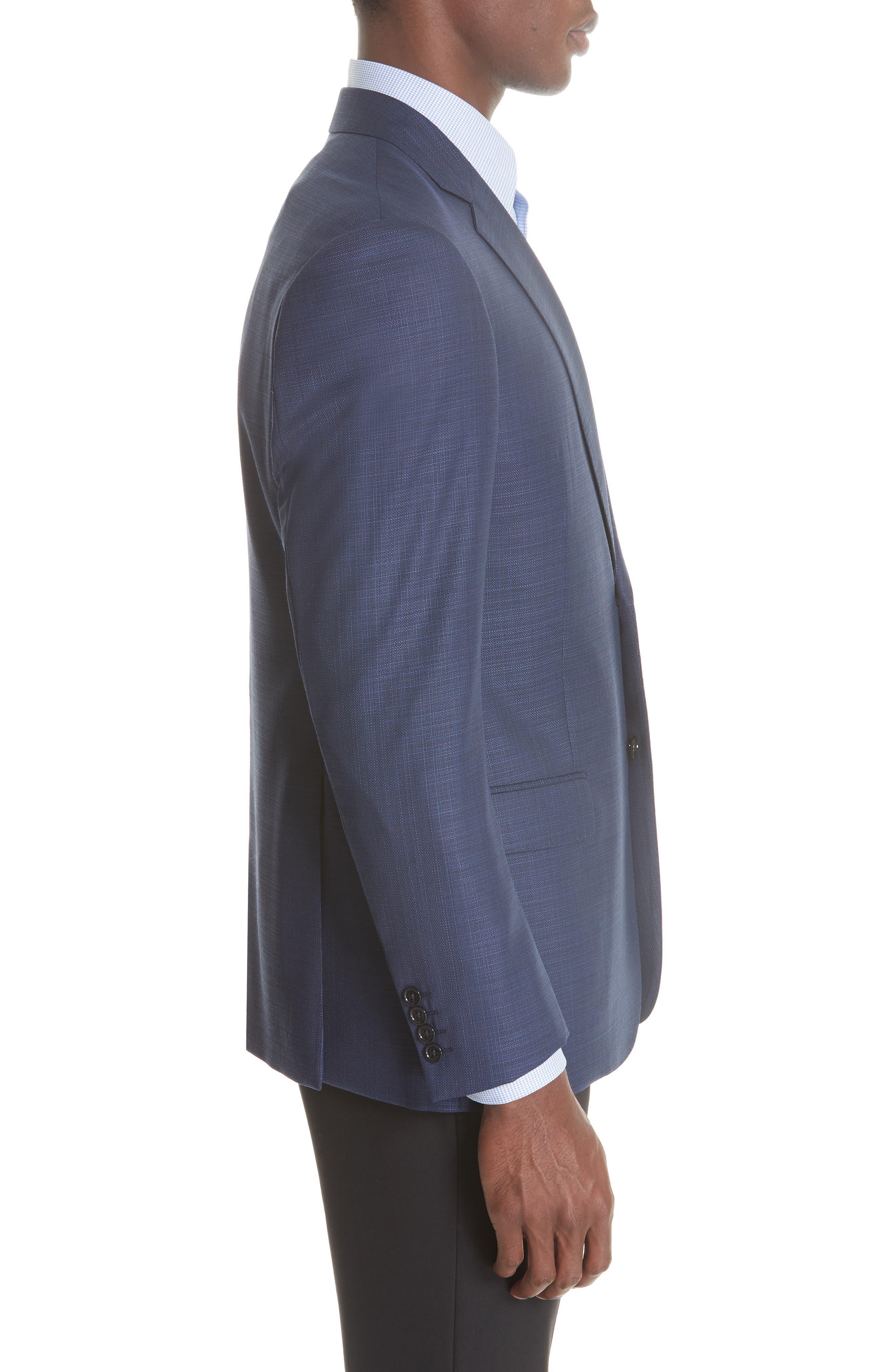 G Line Trim Fit Wool Blazer,                             Alternate thumbnail 3, color,                             Blue