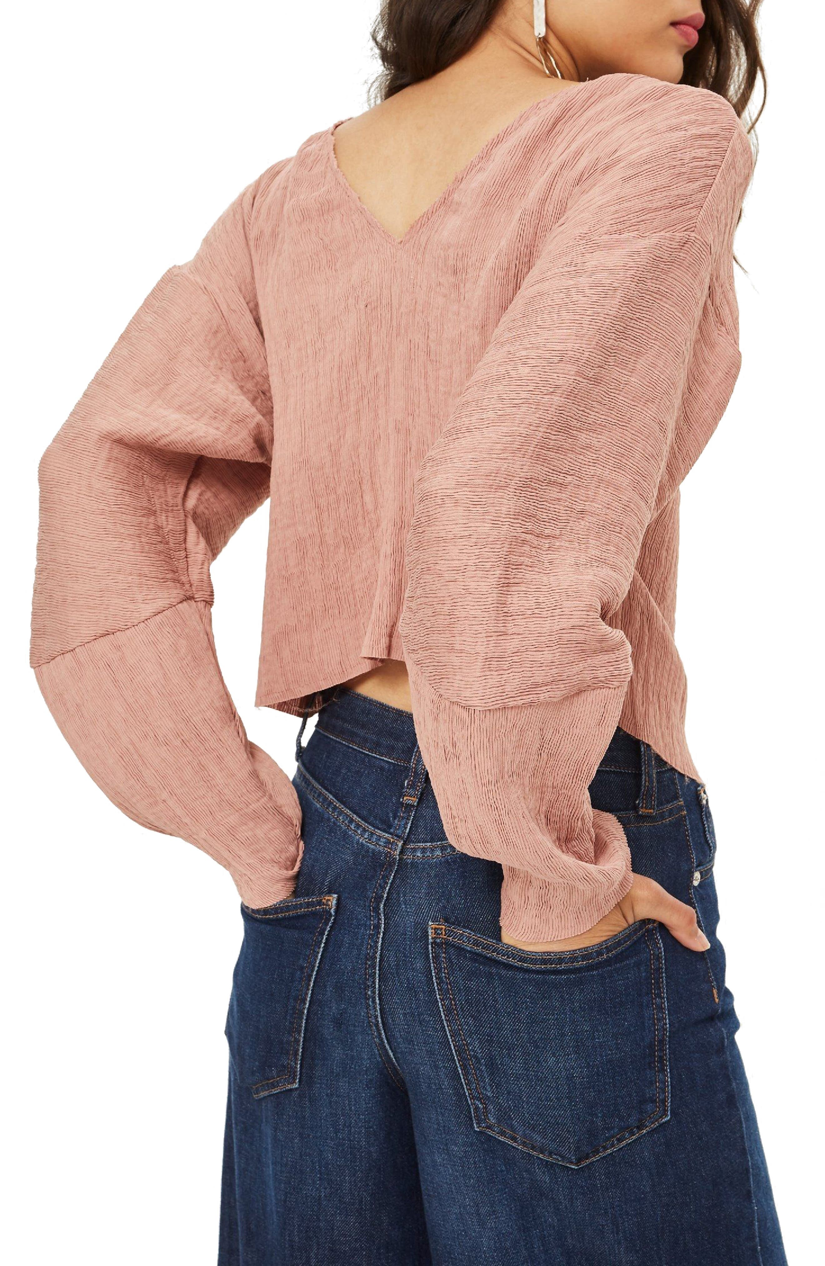 Textured Crinkle Top,                             Alternate thumbnail 3, color,                             Rose