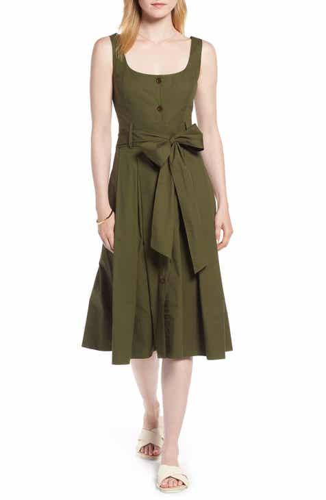 1c3e464673b 1901 Button Front Fit   Flare Midi Dress (Regular   Petite)