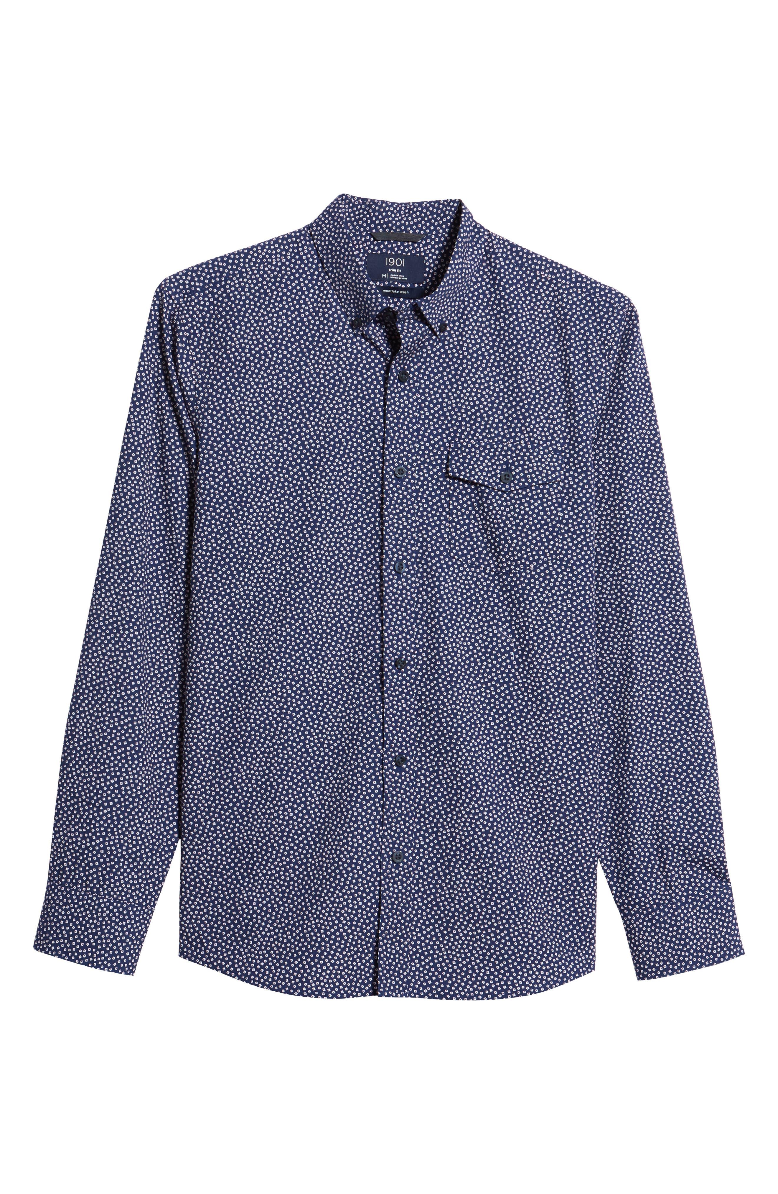 Ivy Trim Fit Print Sport Shirt,                             Alternate thumbnail 6, color,                             Navy Iris Tossed Squares