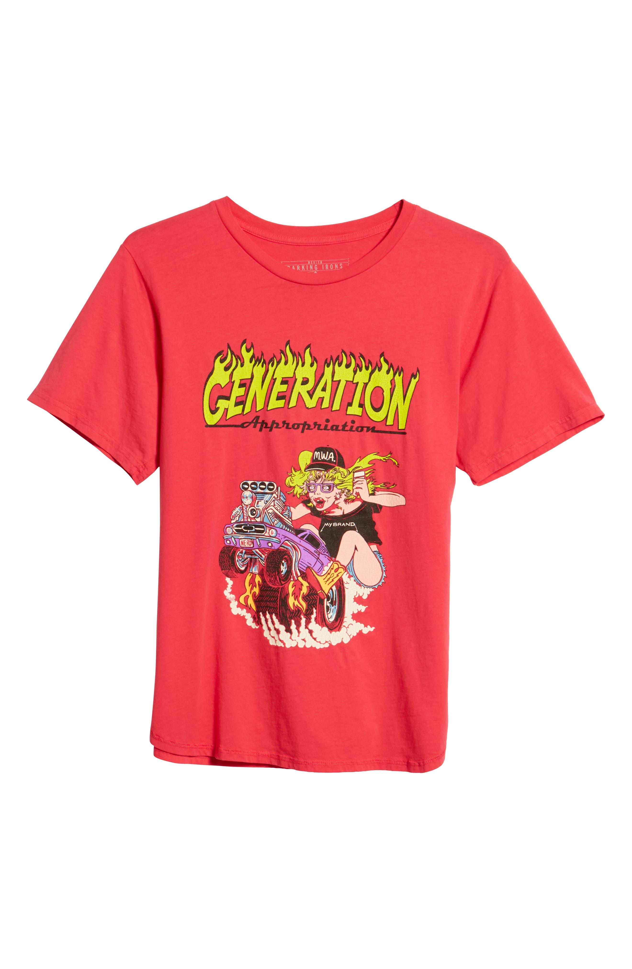 Generation Appropriation Crewneck T-Shirt,                             Alternate thumbnail 6, color,                             Punk Pink