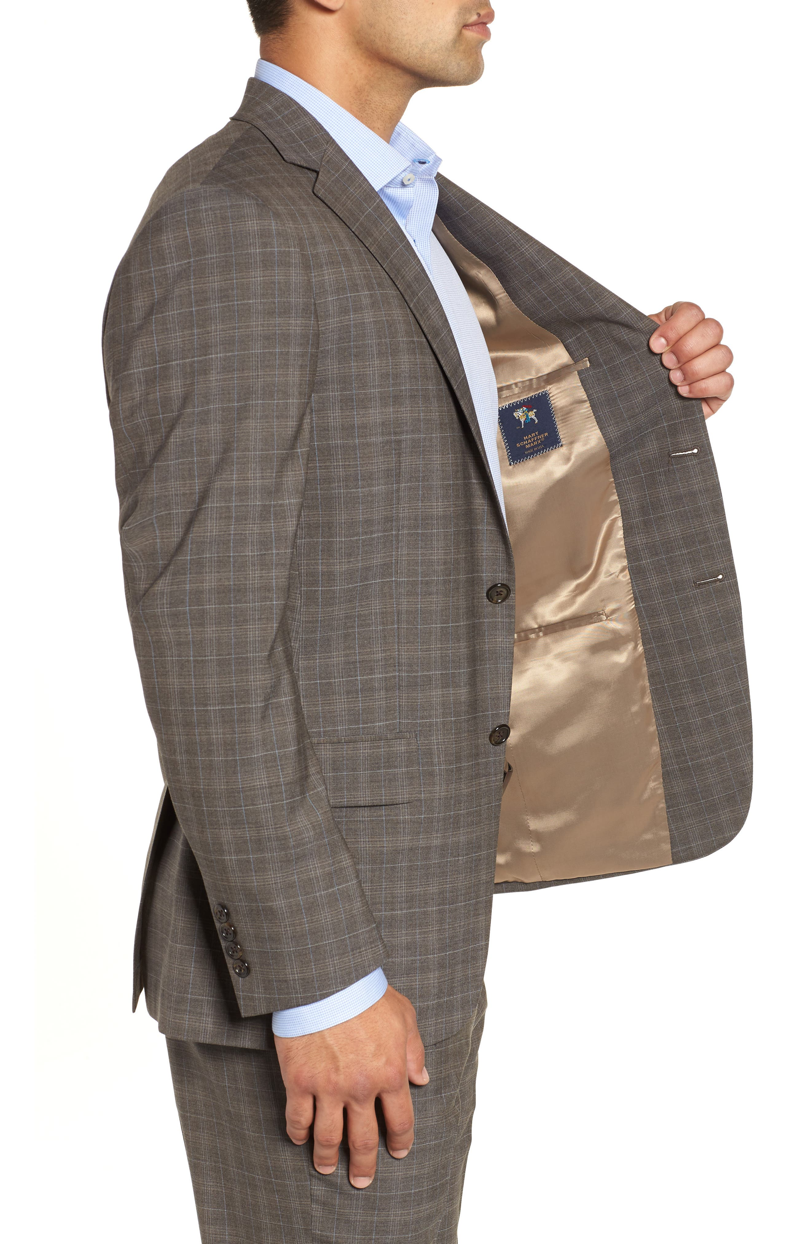 Classic Fit Plaid Stretch Wool Suit,                             Alternate thumbnail 4, color,                             Brown