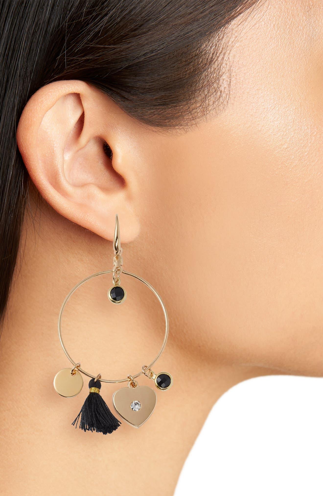 Samantha Tassel & Charm Hoop Earrings,                             Alternate thumbnail 2, color,                             Gold