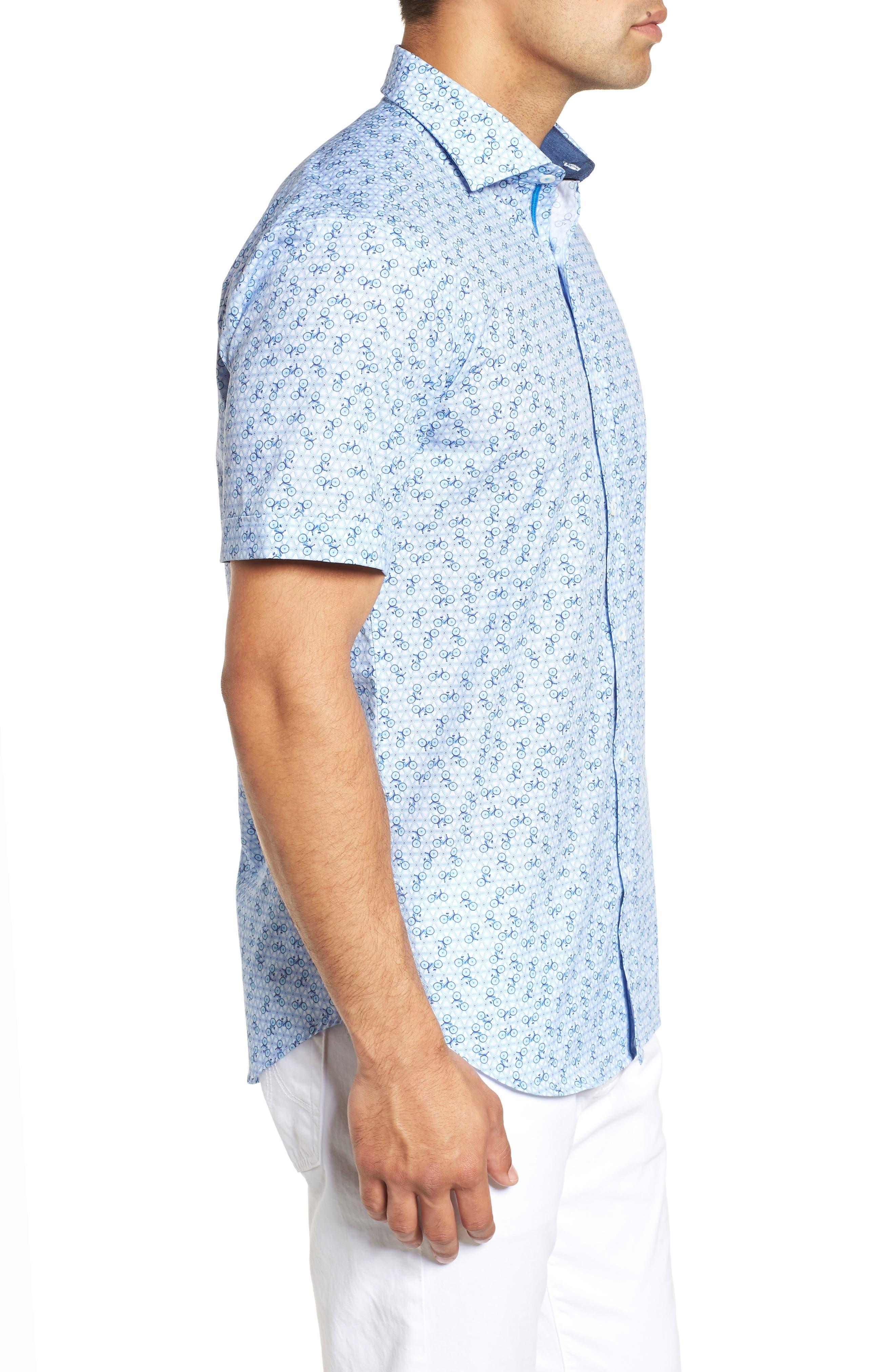 Shaped Fit Print Sport Shirt,                             Alternate thumbnail 4, color,                             Ice Blue