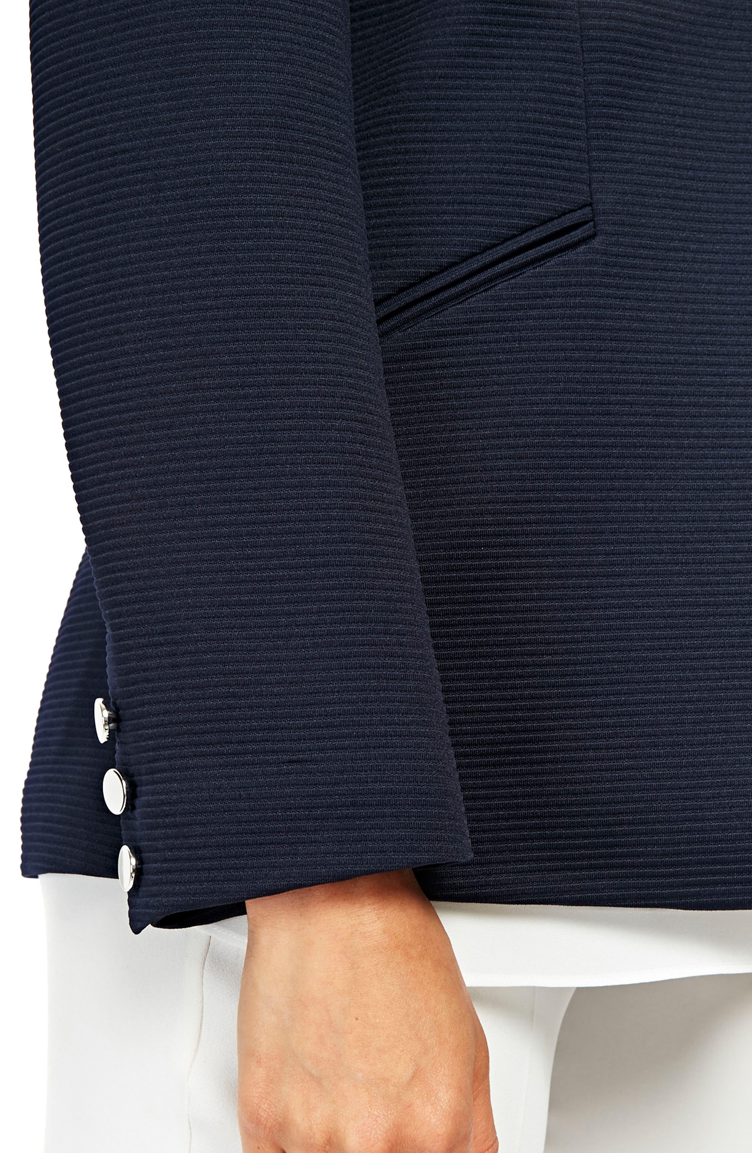 Ribbed Ponte Turnback Jacket,                             Alternate thumbnail 3, color,                             Navy