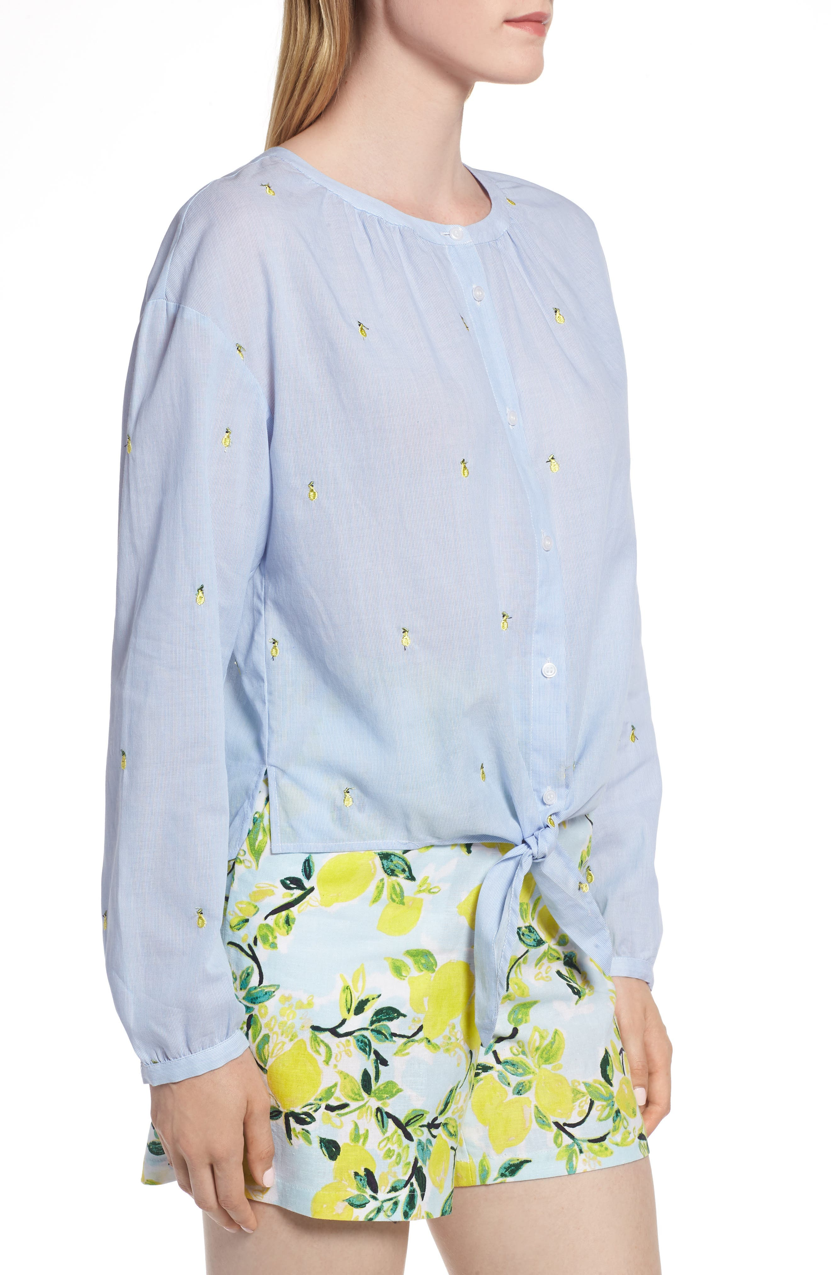 Embroidery Tie Front Cotton Top,                             Alternate thumbnail 3, color,                             Blue Mini Pear