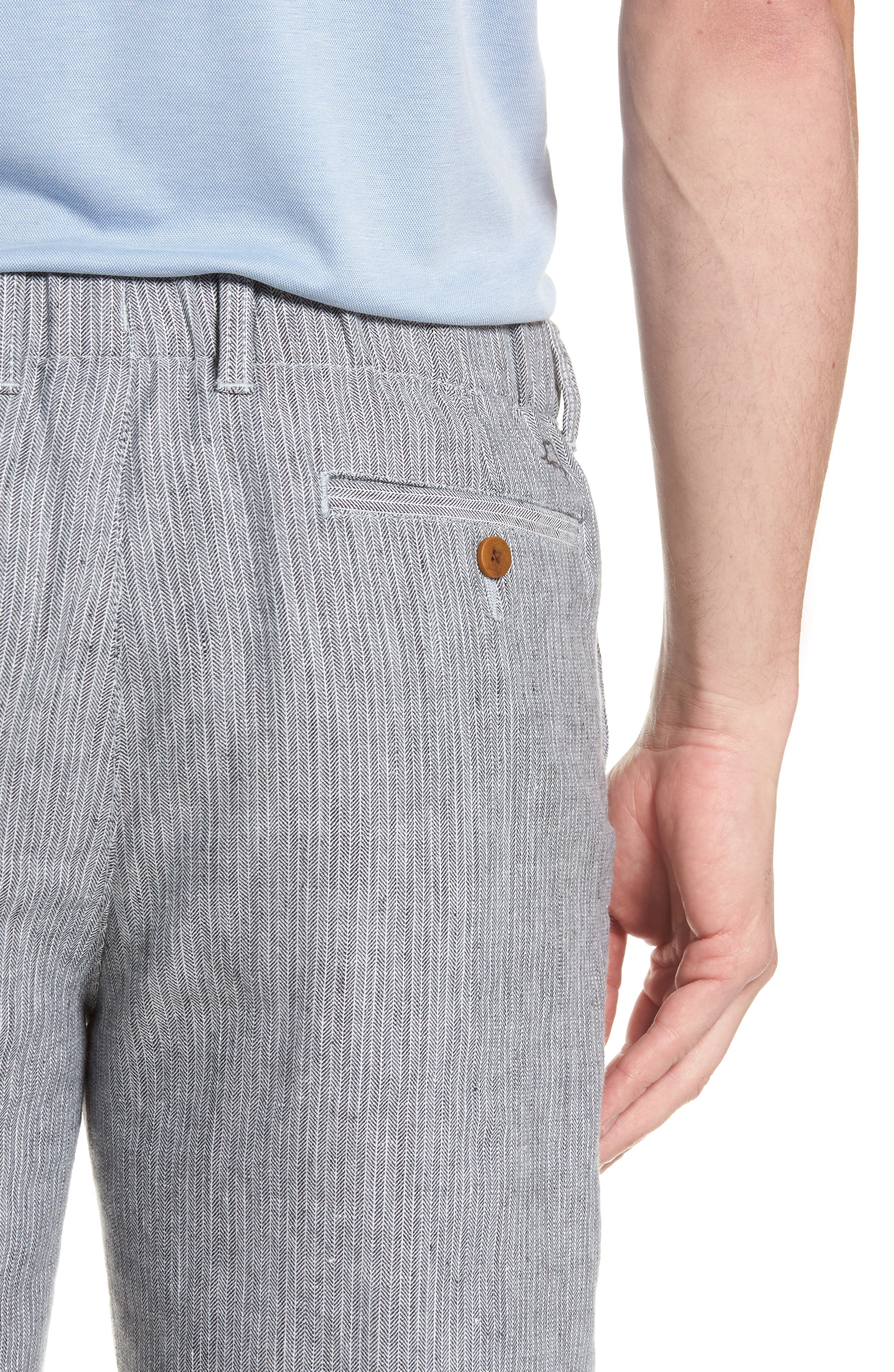 Harbor Herringbone Linen Blend Shorts,                             Alternate thumbnail 4, color,                             Black