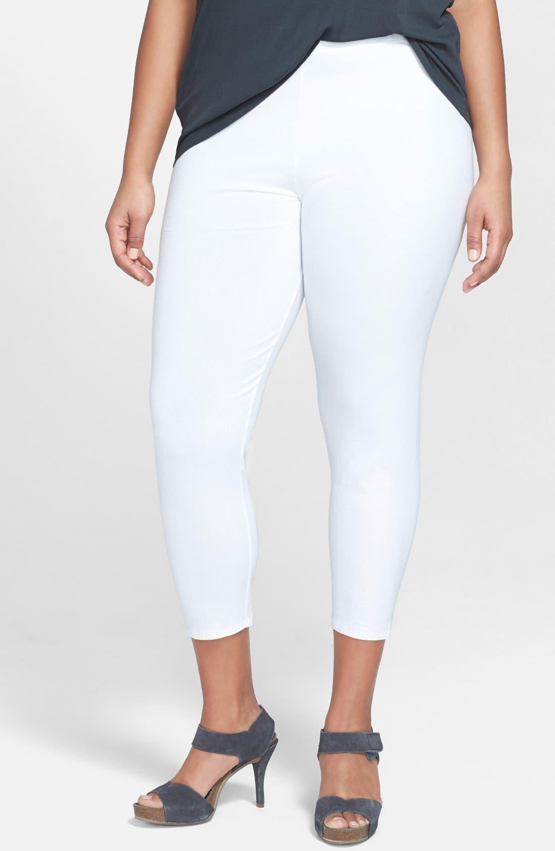 Crop Leggings,                         Main,                         color, White