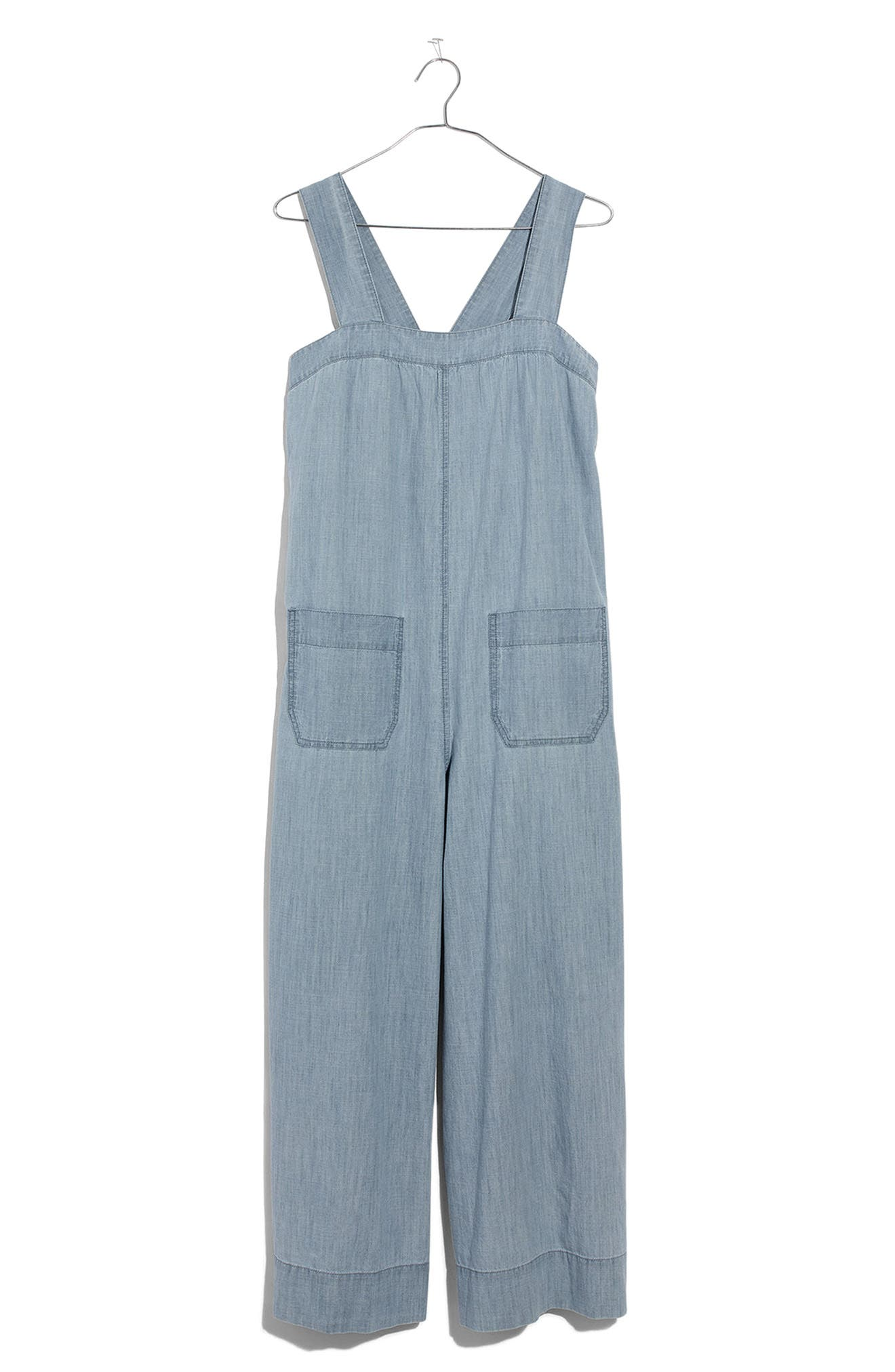 Chambray Wide Leg Jumpsuit,                             Alternate thumbnail 4, color,                             Cold Spring Wash