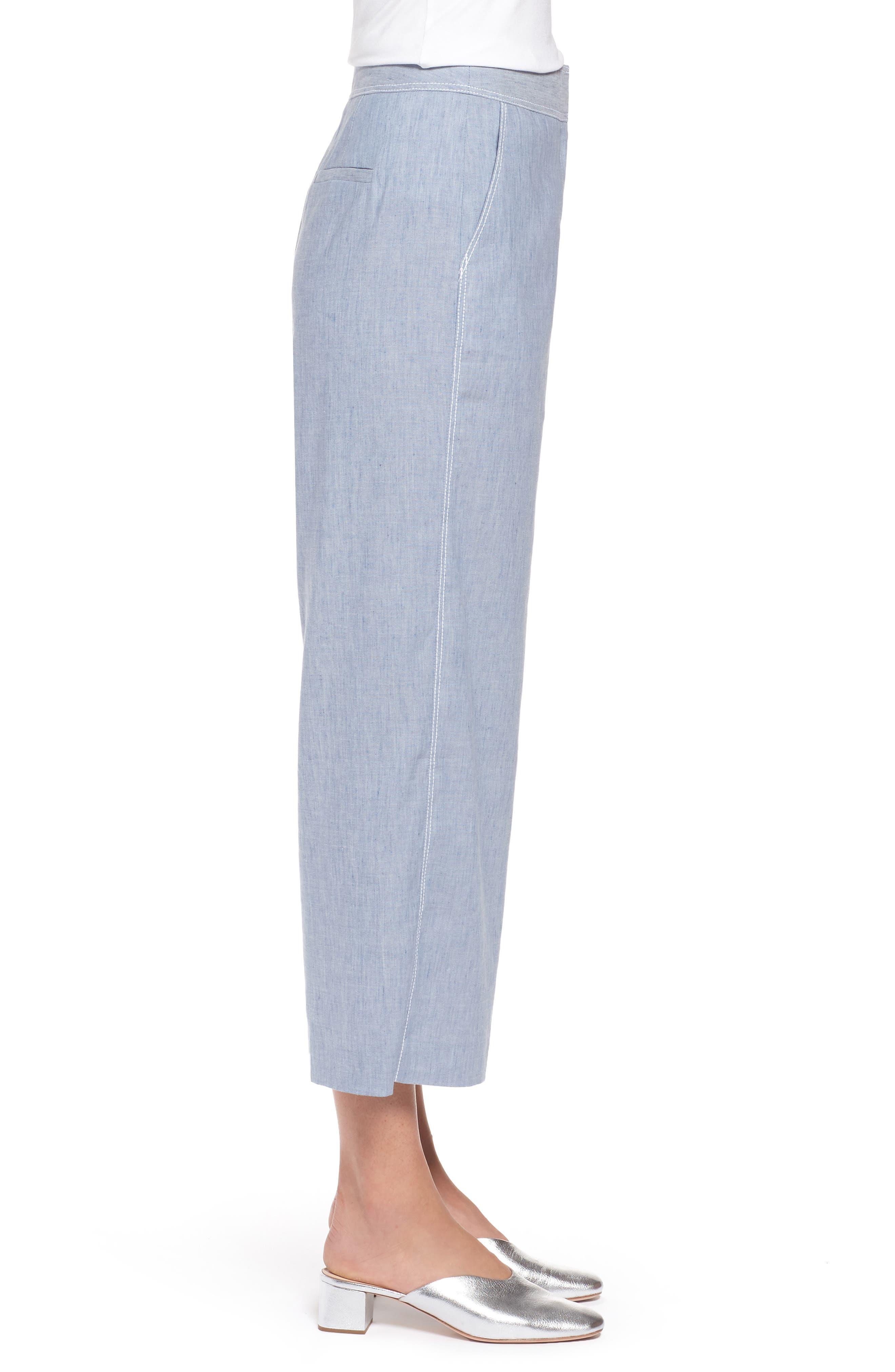 Wide Leg Linen Blend Pants,                             Alternate thumbnail 3, color,                             Chambray