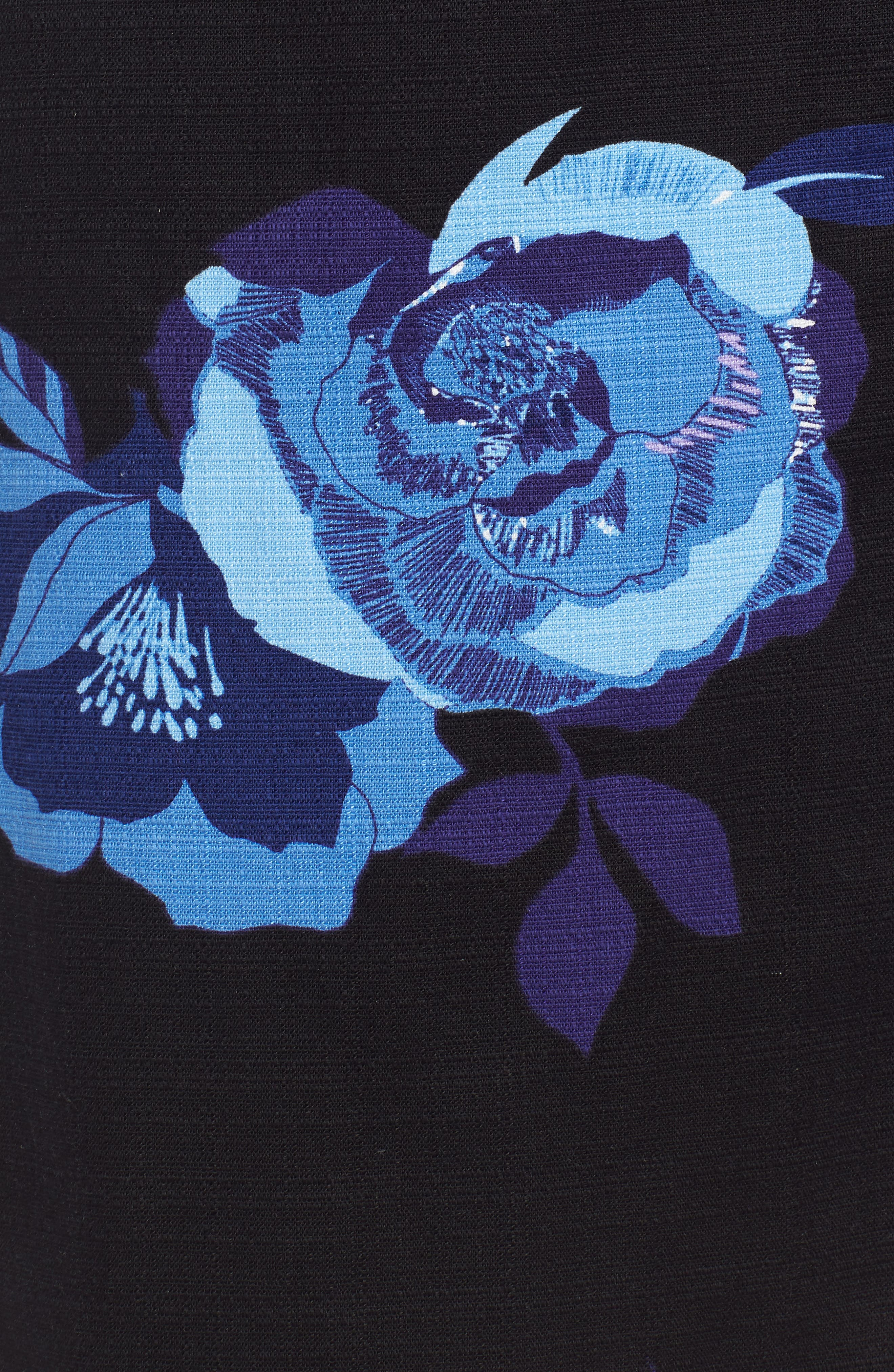 Floral Cotton Blend Wrap Skirt,                             Alternate thumbnail 5, color,                             Black- Blue Rose Print