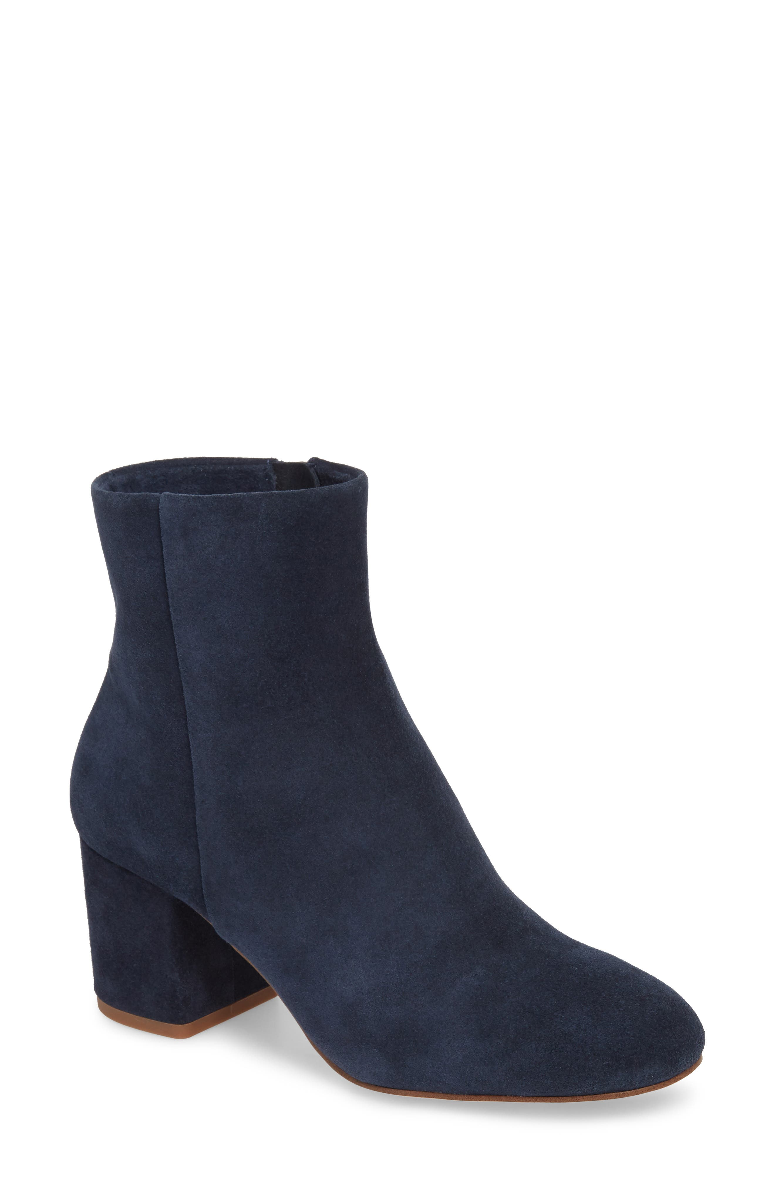 Nixie Bootie,                             Main thumbnail 1, color,                             Navy Suede