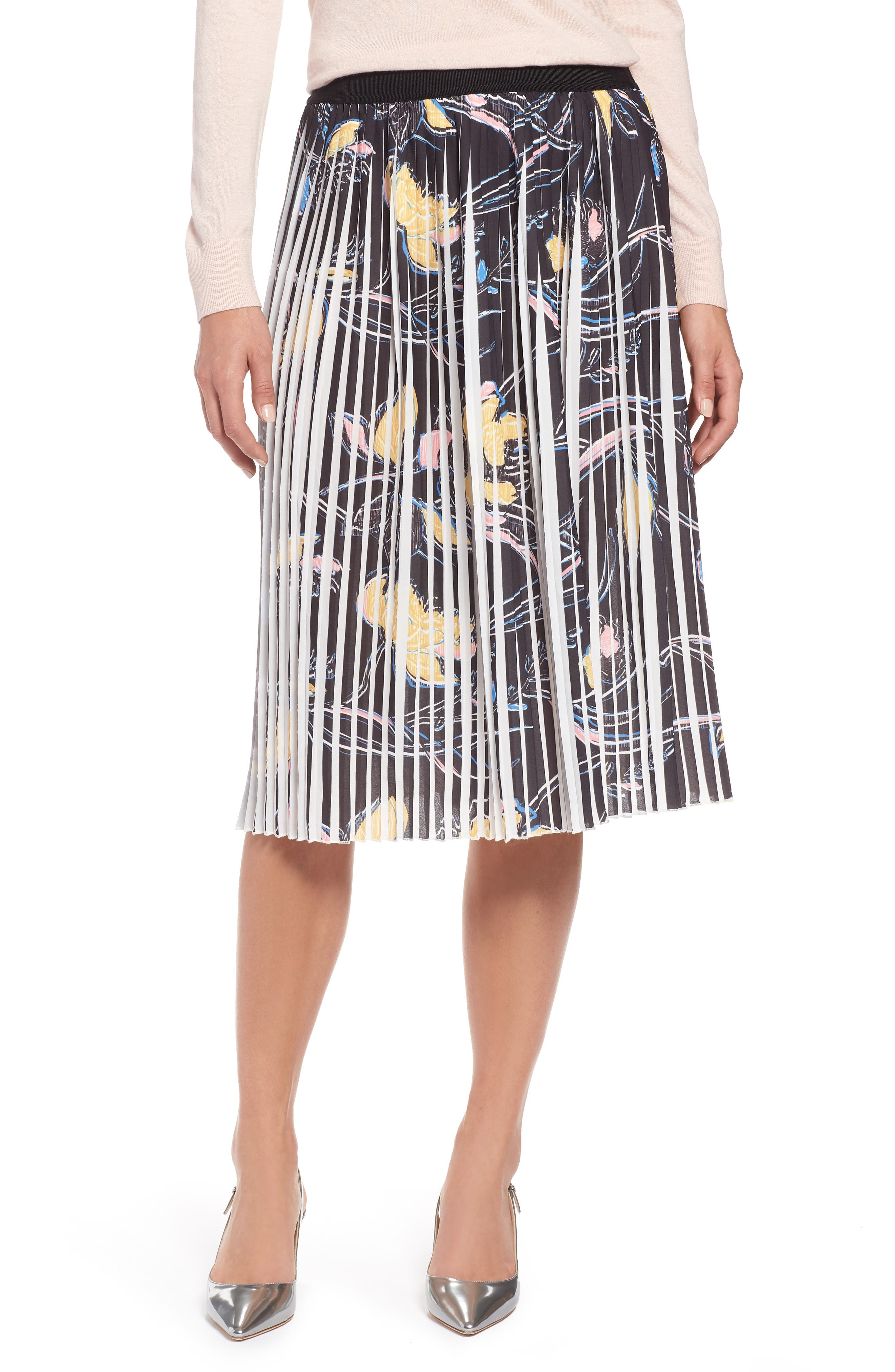 Pleated Print Skirt,                         Main,                         color, Black- Yellow Floral